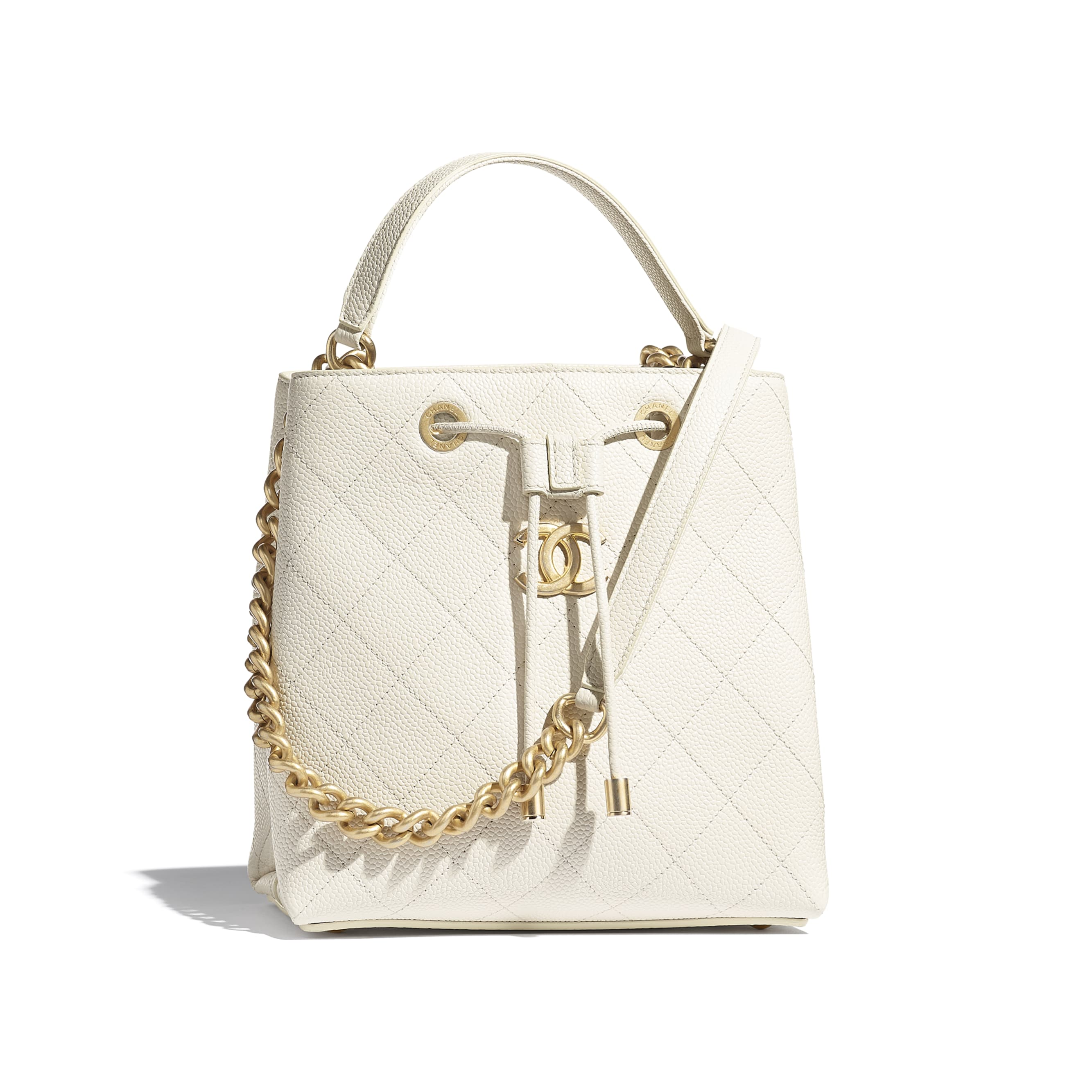 Drawstring Bag - White - Grained Calfskin & Gold-Tone Metal - CHANEL - Default view - see standard sized version