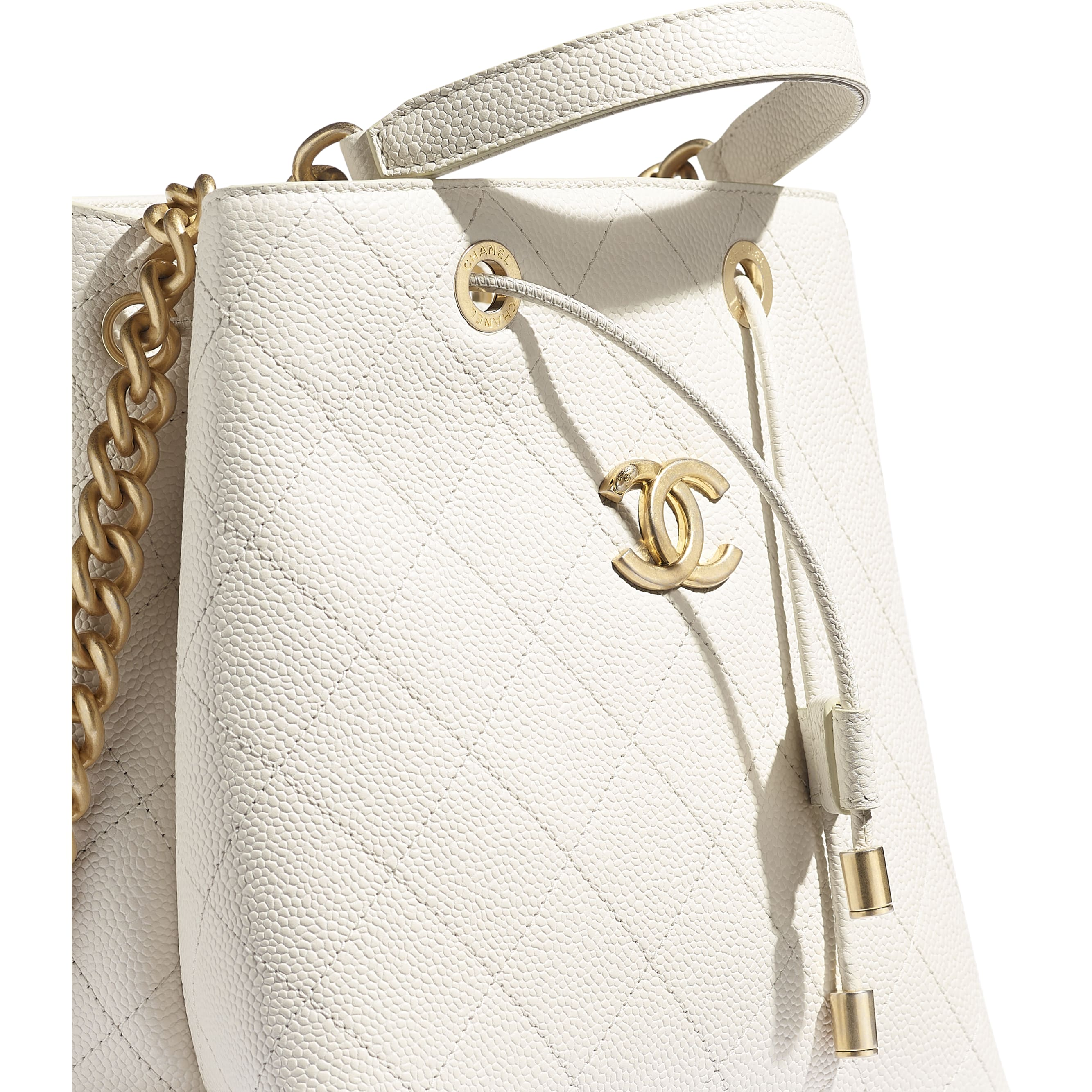 Drawstring Bag - White - Grained Calfskin & Gold-Tone Metal - CHANEL - Extra view - see standard sized version