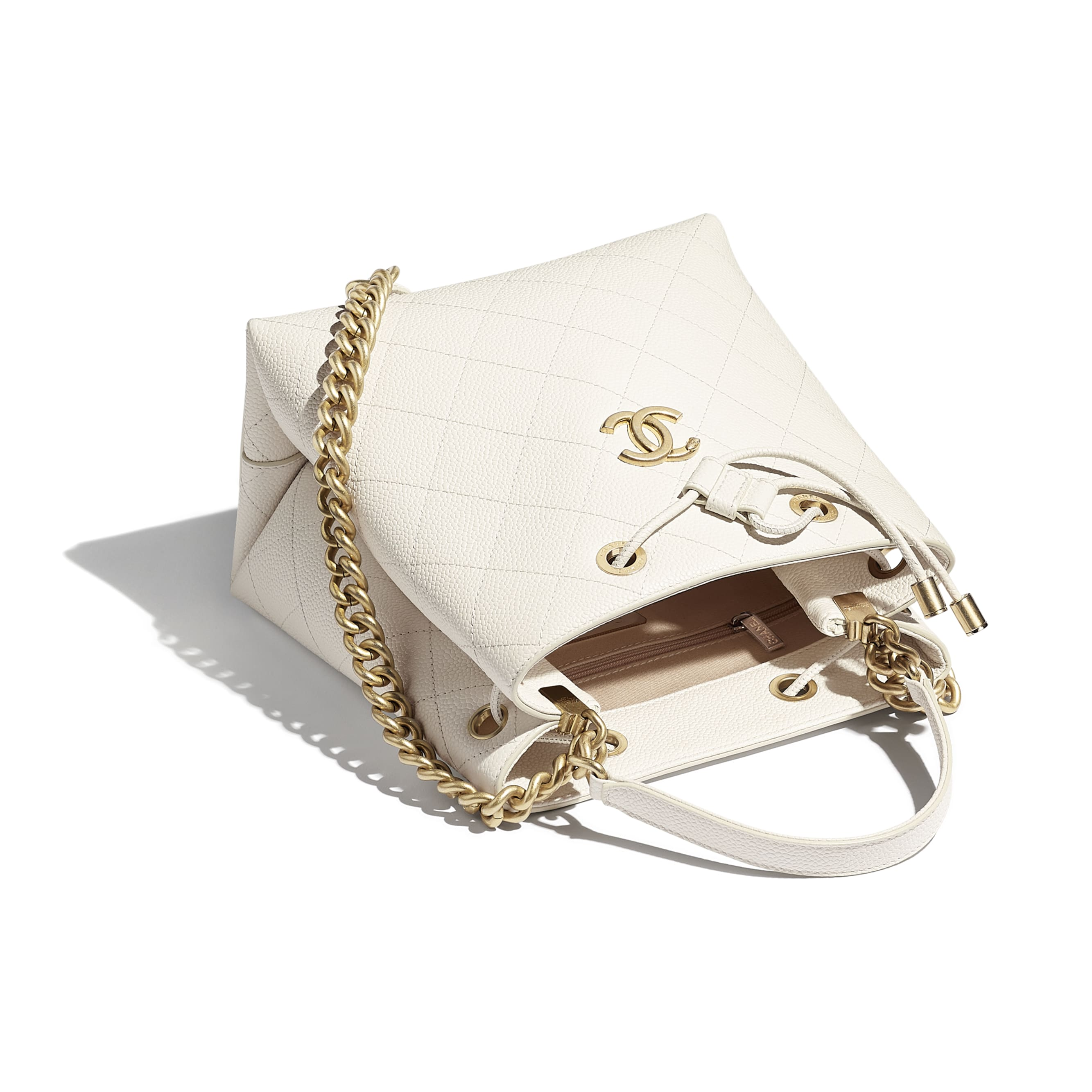 Drawstring Bag - White - Grained Calfskin & Gold-Tone Metal - CHANEL - Other view - see standard sized version