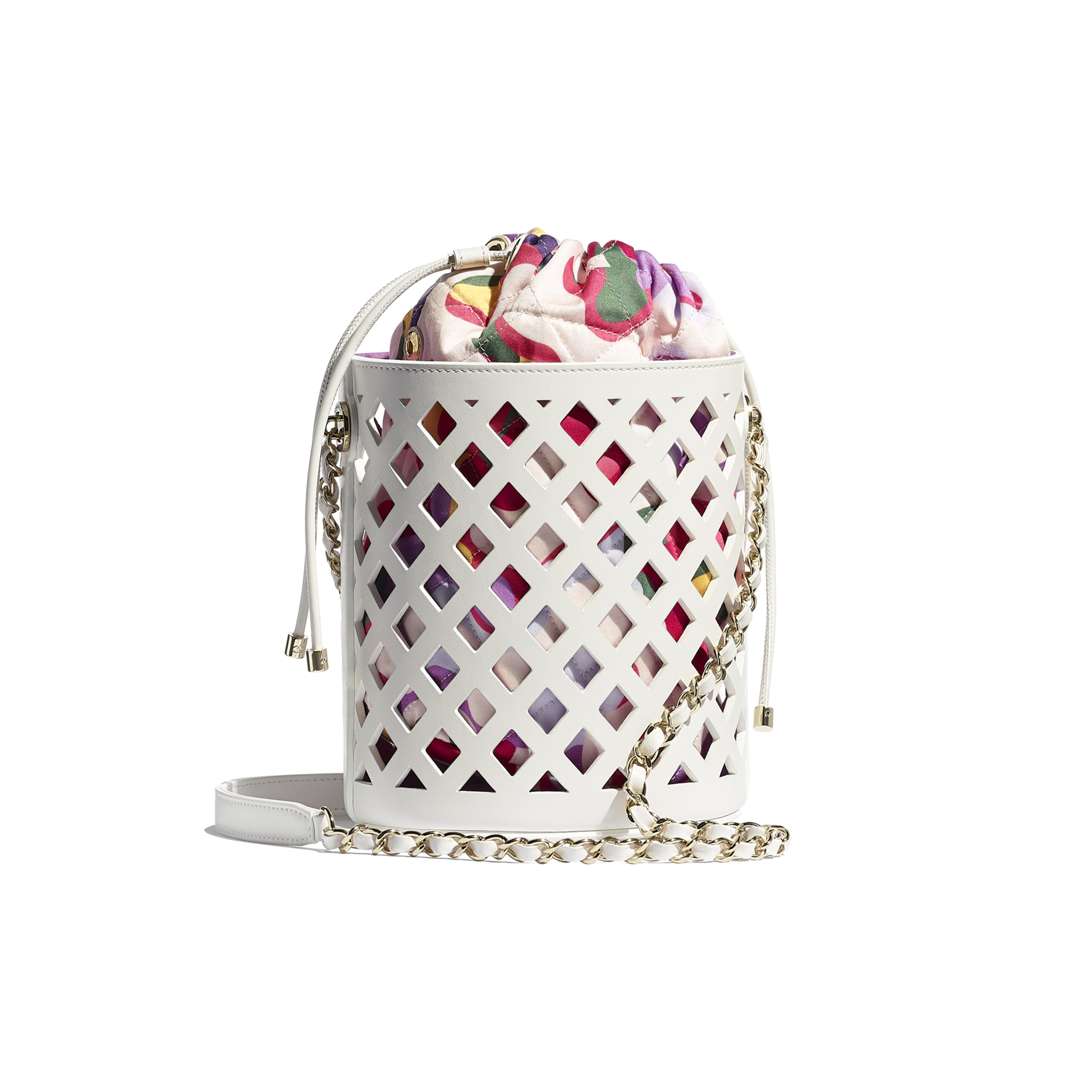 Drawstring Bag - White - Perforated Calfskin, Printed Fabric & Gold-Tone Metal - CHANEL - Alternative view - see standard sized version
