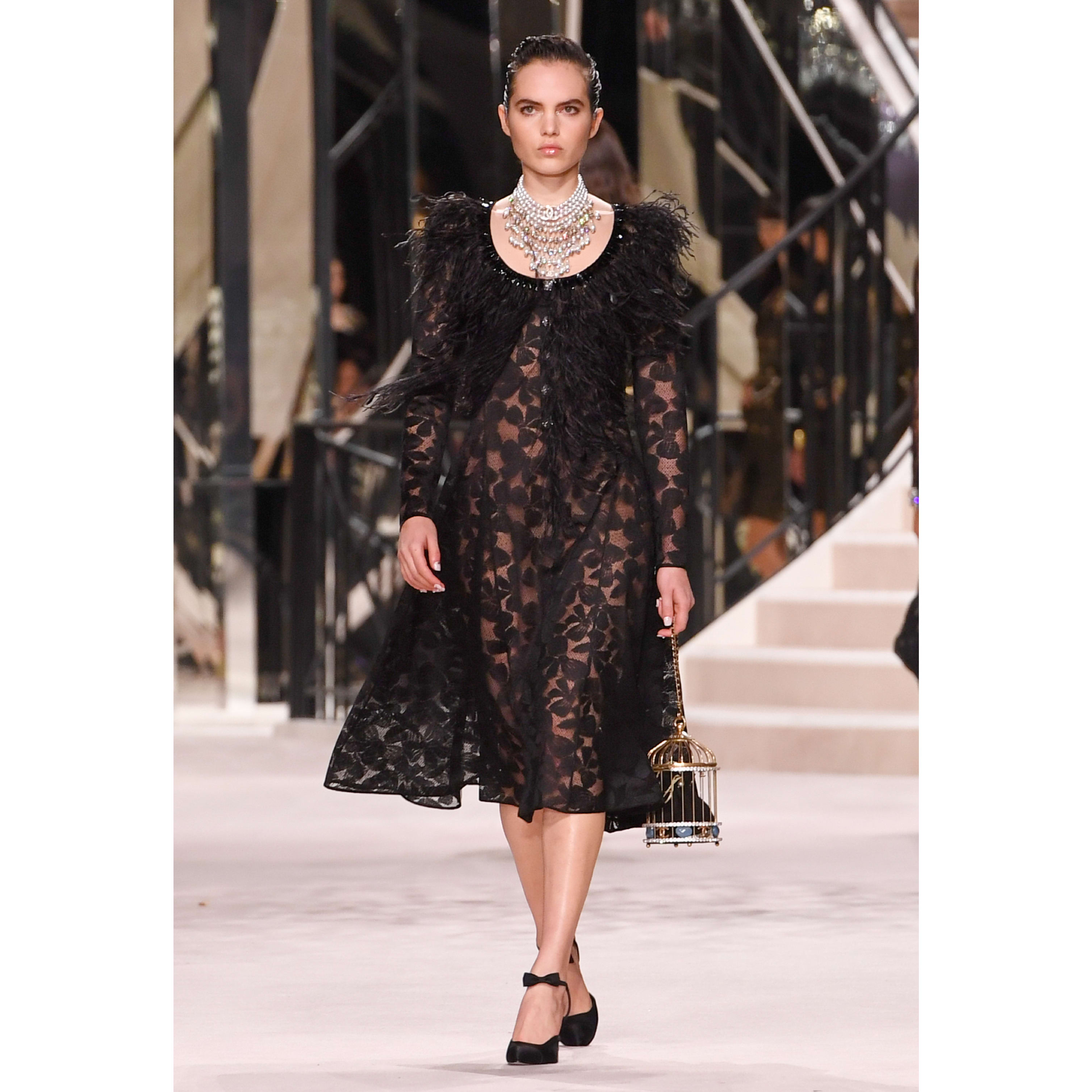 Dress - Black - Embroidered with Feathers Lace - CHANEL - Default view - see standard sized version