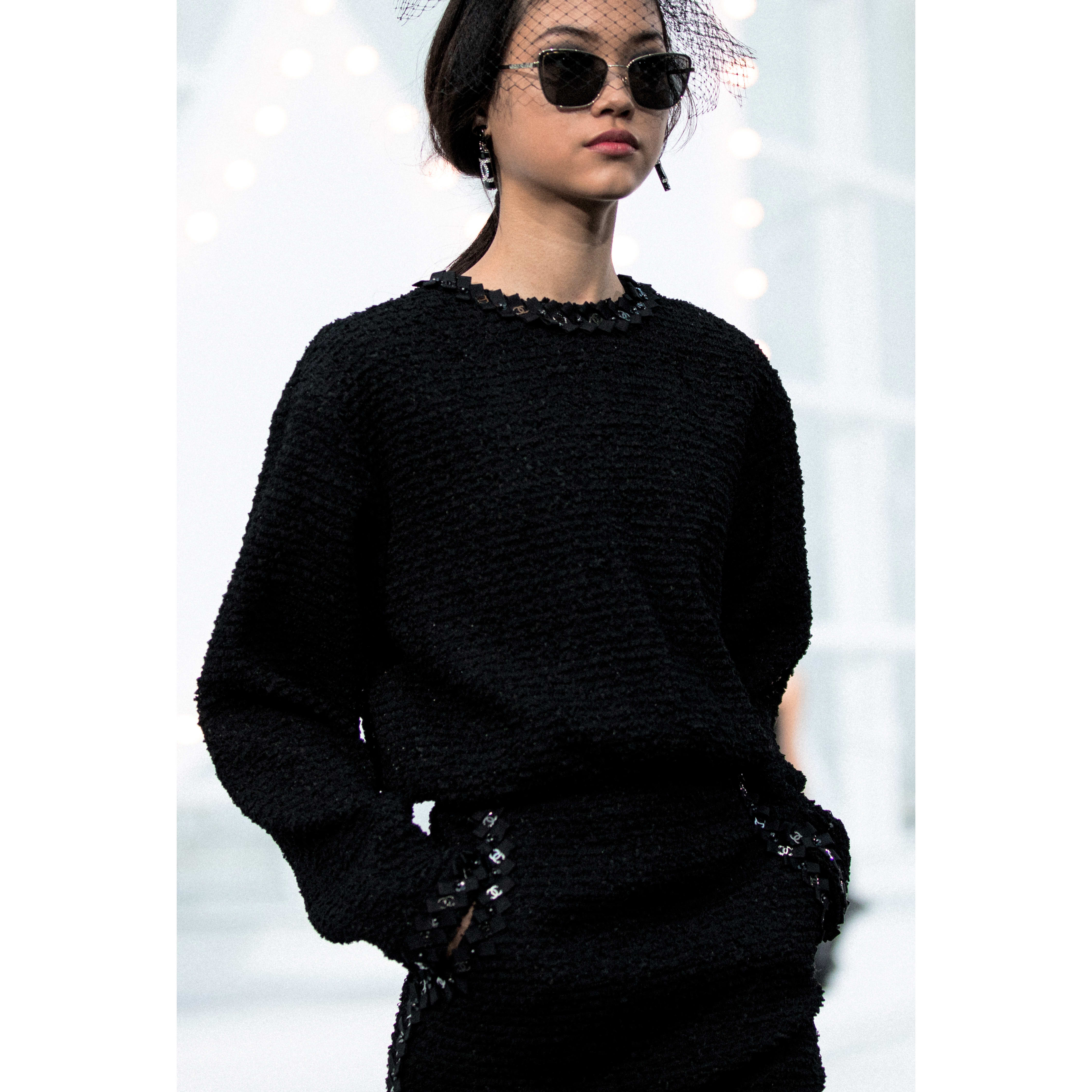 Dress - Black - Embroidered Tweed - CHANEL - Alternative view - see standard sized version