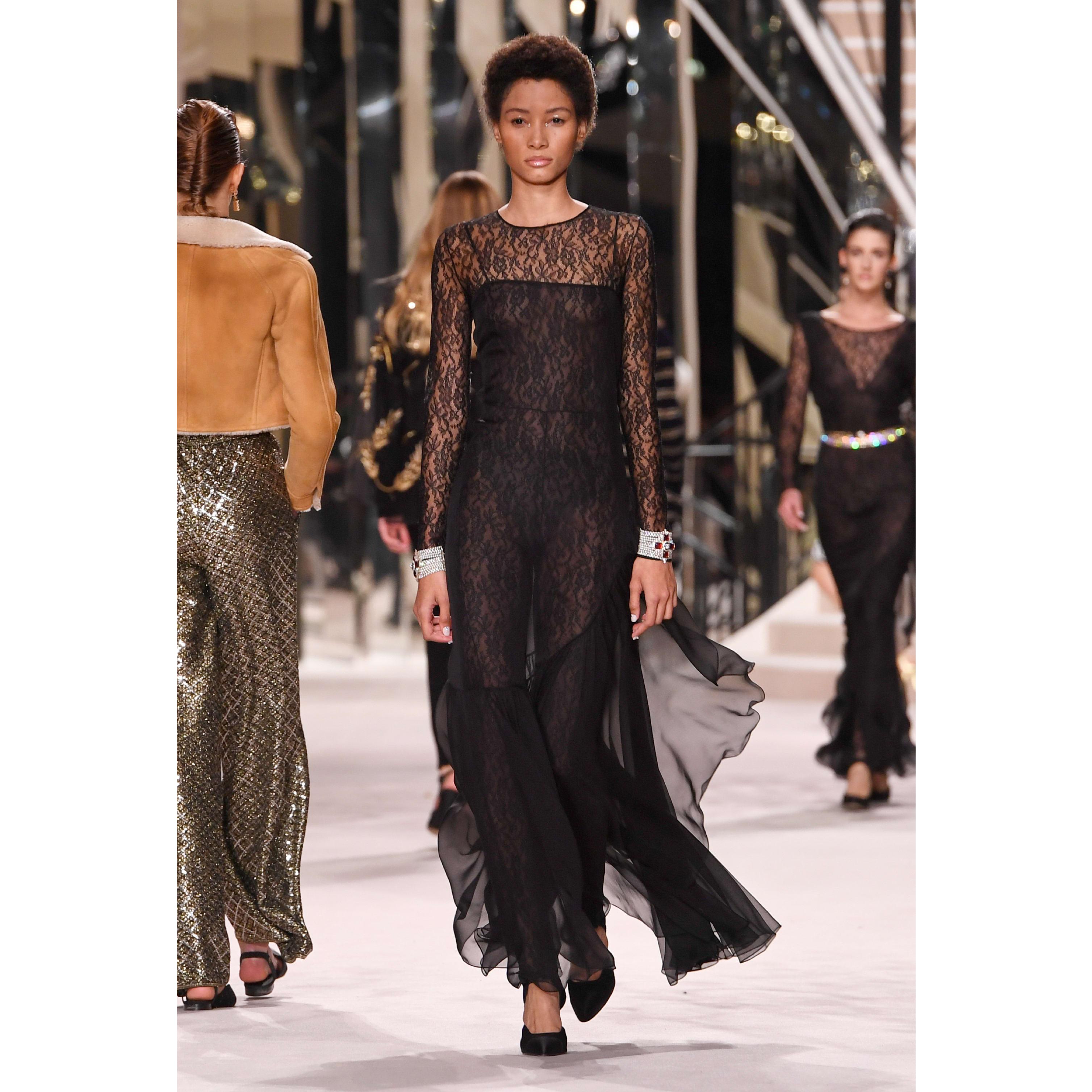 洋裝 - 黑 - 真絲絲透紗 - CHANEL - 預設視圖 - 查看標準尺寸版本