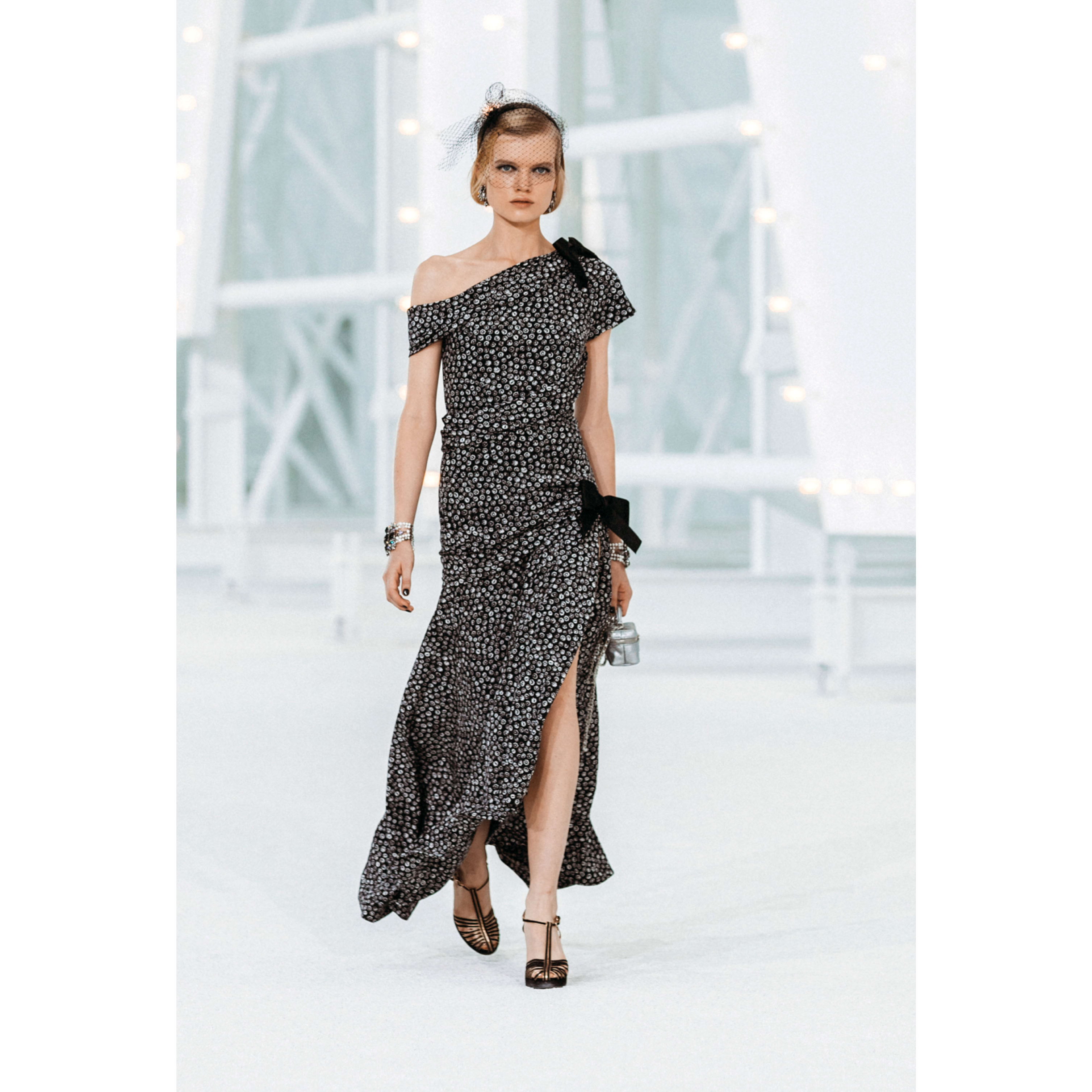 Dress - Black & White - Printed Silk - CHANEL - Default view - see standard sized version