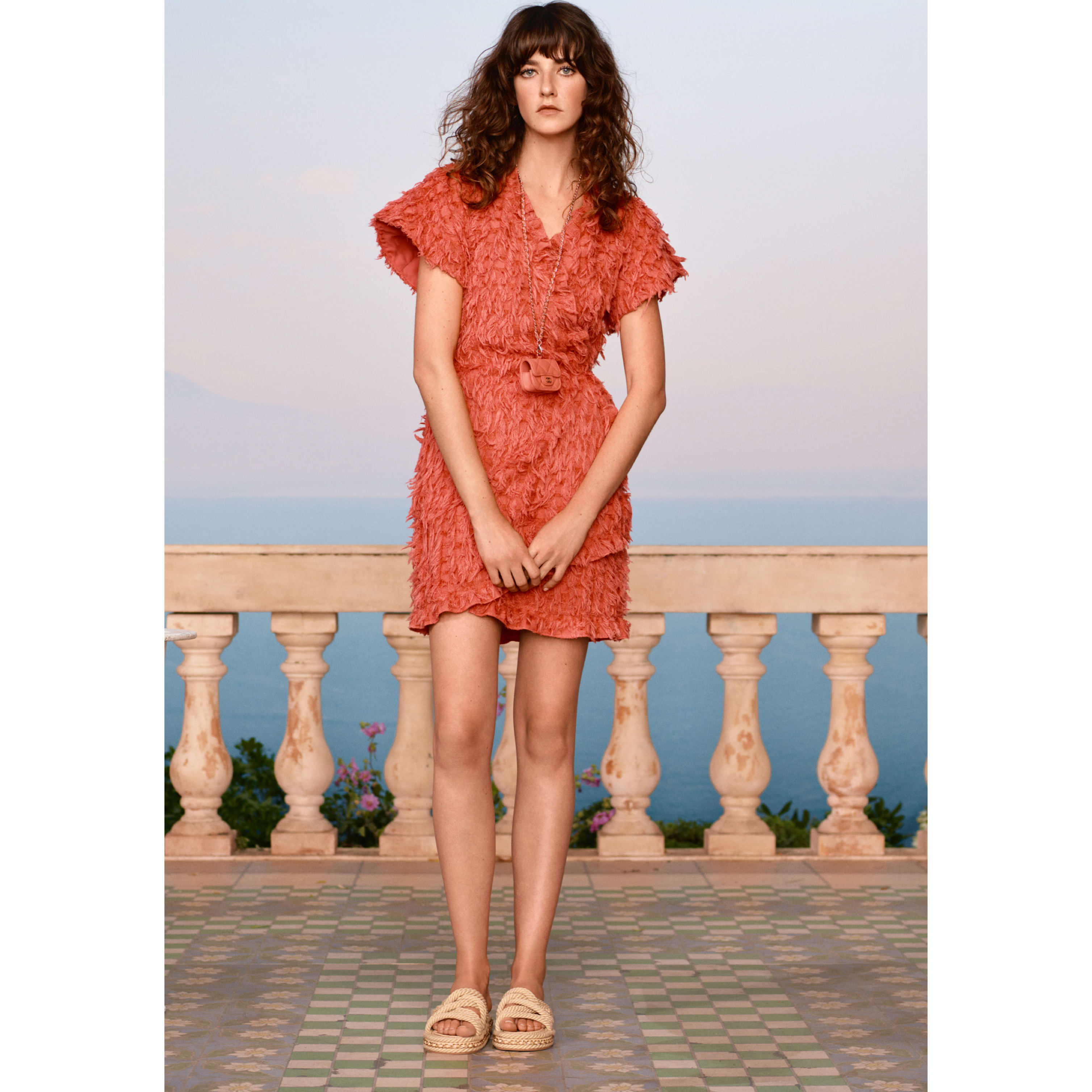 Dress - Coral - Cotton & Silk Tweed - CHANEL - Default view - see standard sized version