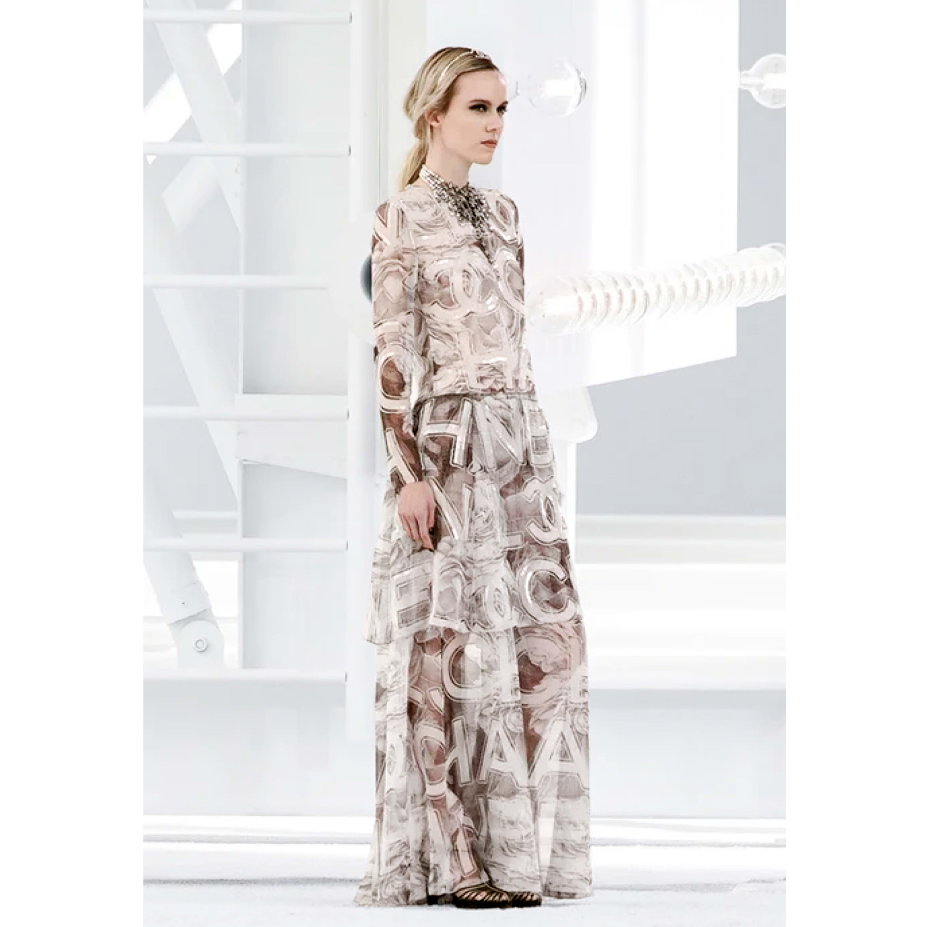 Dress - Ecru, Brown & Grey - Embroidered Silk Muslin - CHANEL - Default view - see standard sized version