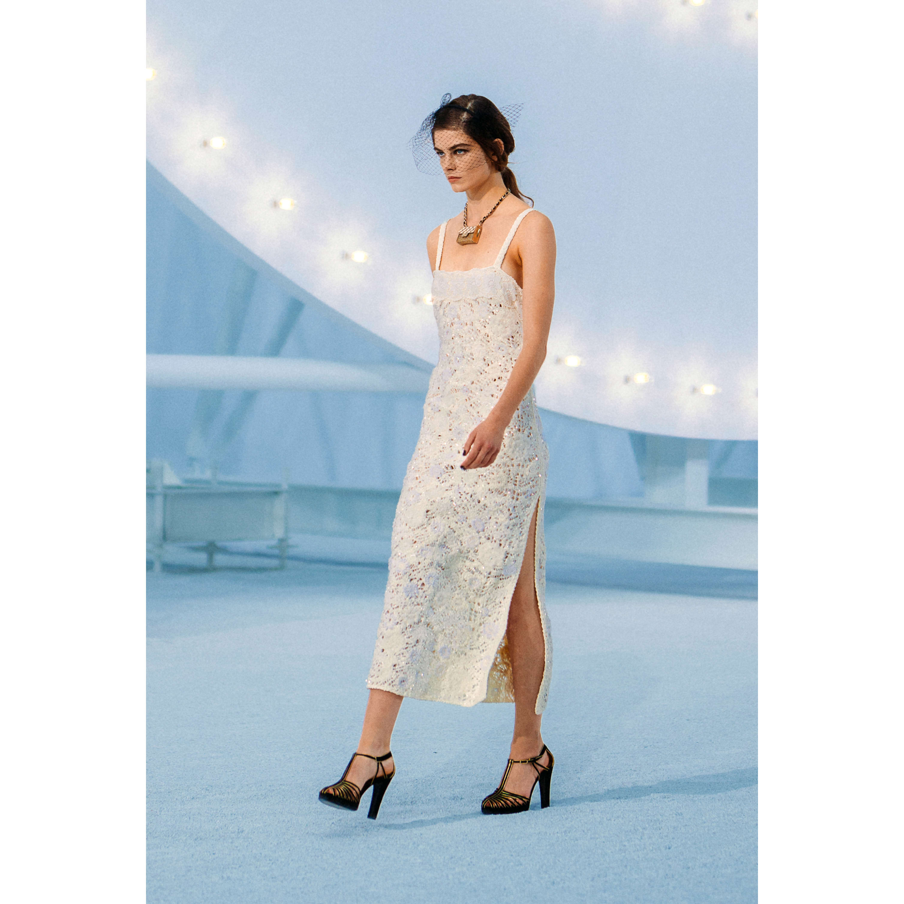 Dress - Ecru - Embroidered Cotton  - CHANEL - Default view - see standard sized version