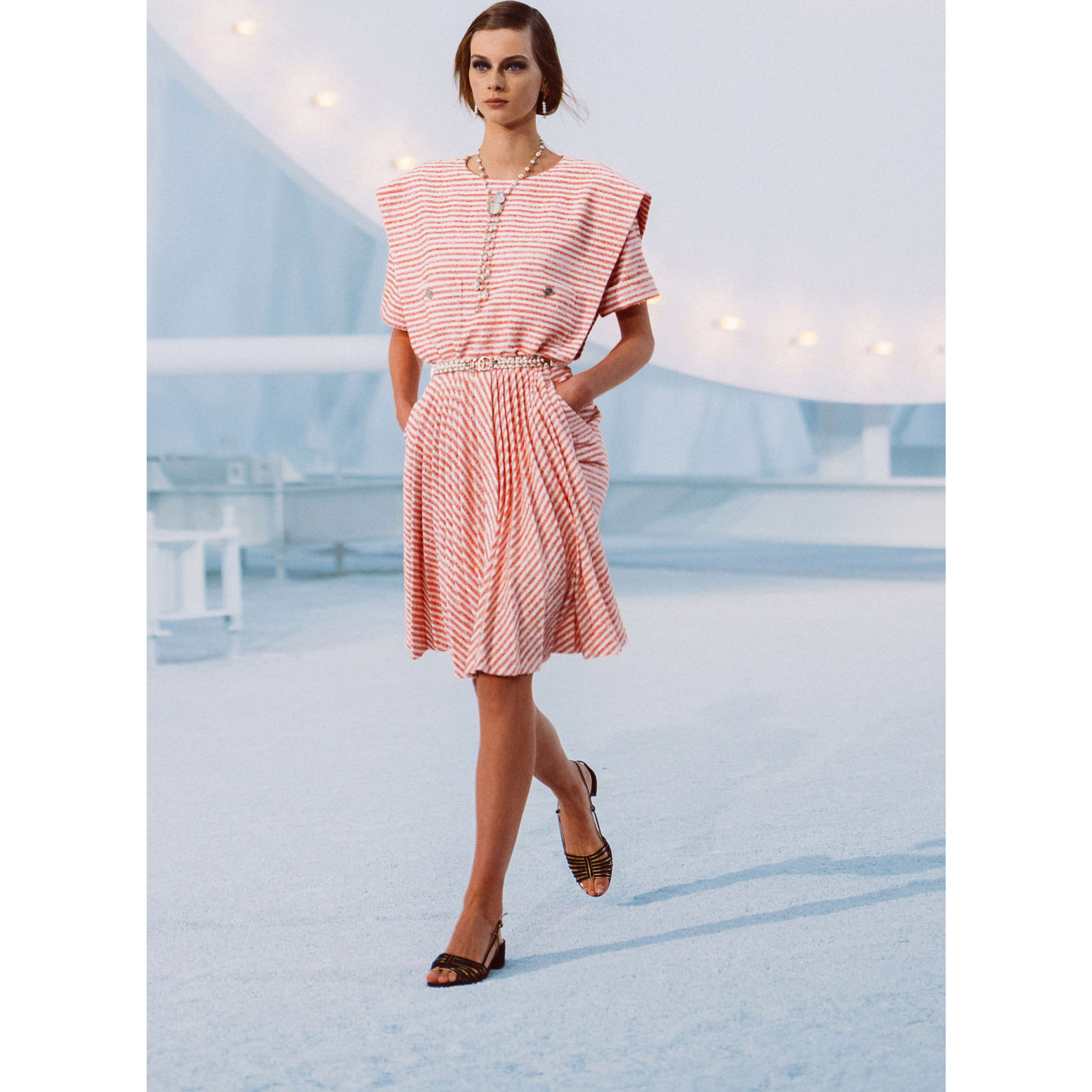 Dress - Ecru, Pink & Orange - Tweed - CHANEL - Default view - see standard sized version