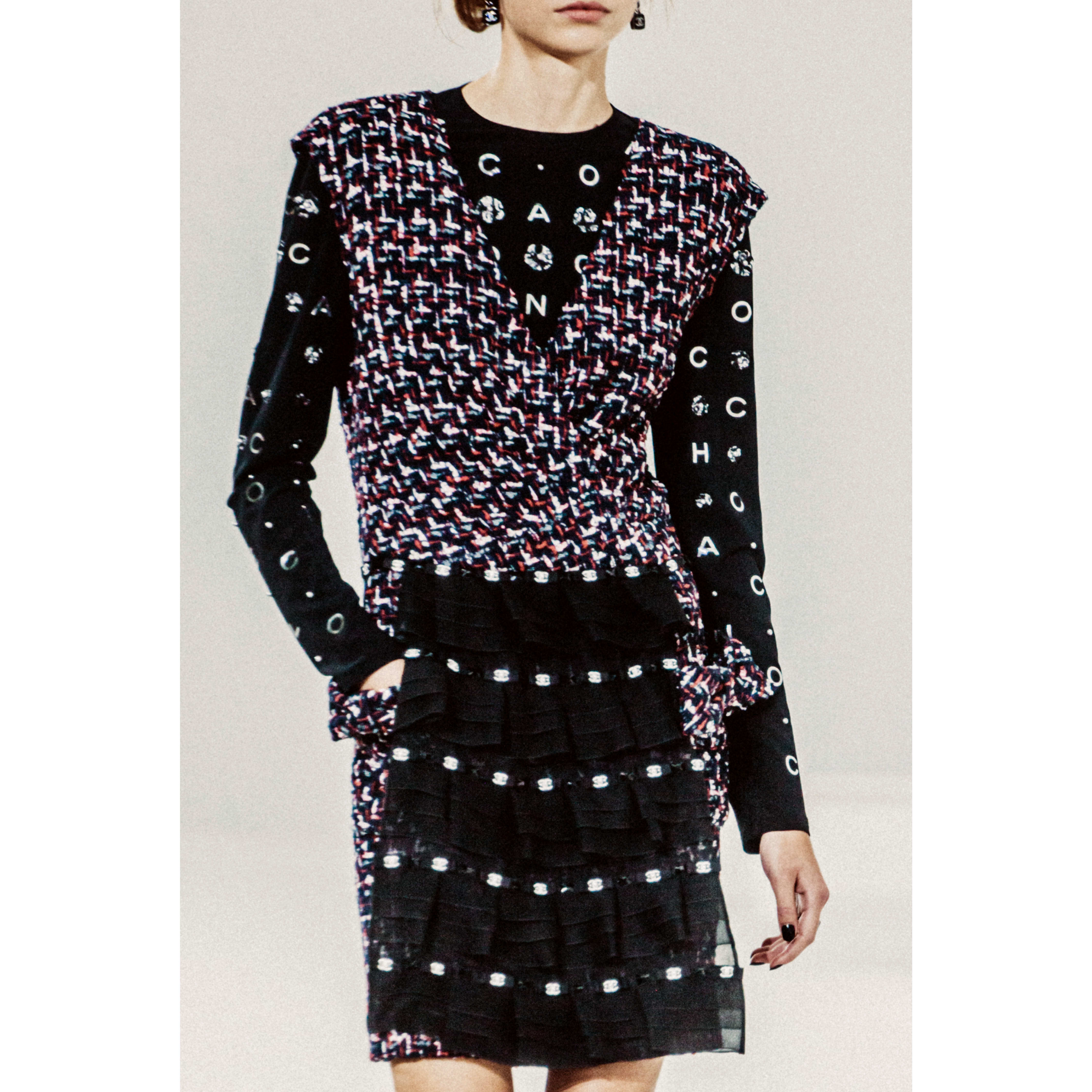 Dress - Navy Blue, Black, Red & White - Embroidered Tweed - CHANEL - Alternative view - see standard sized version