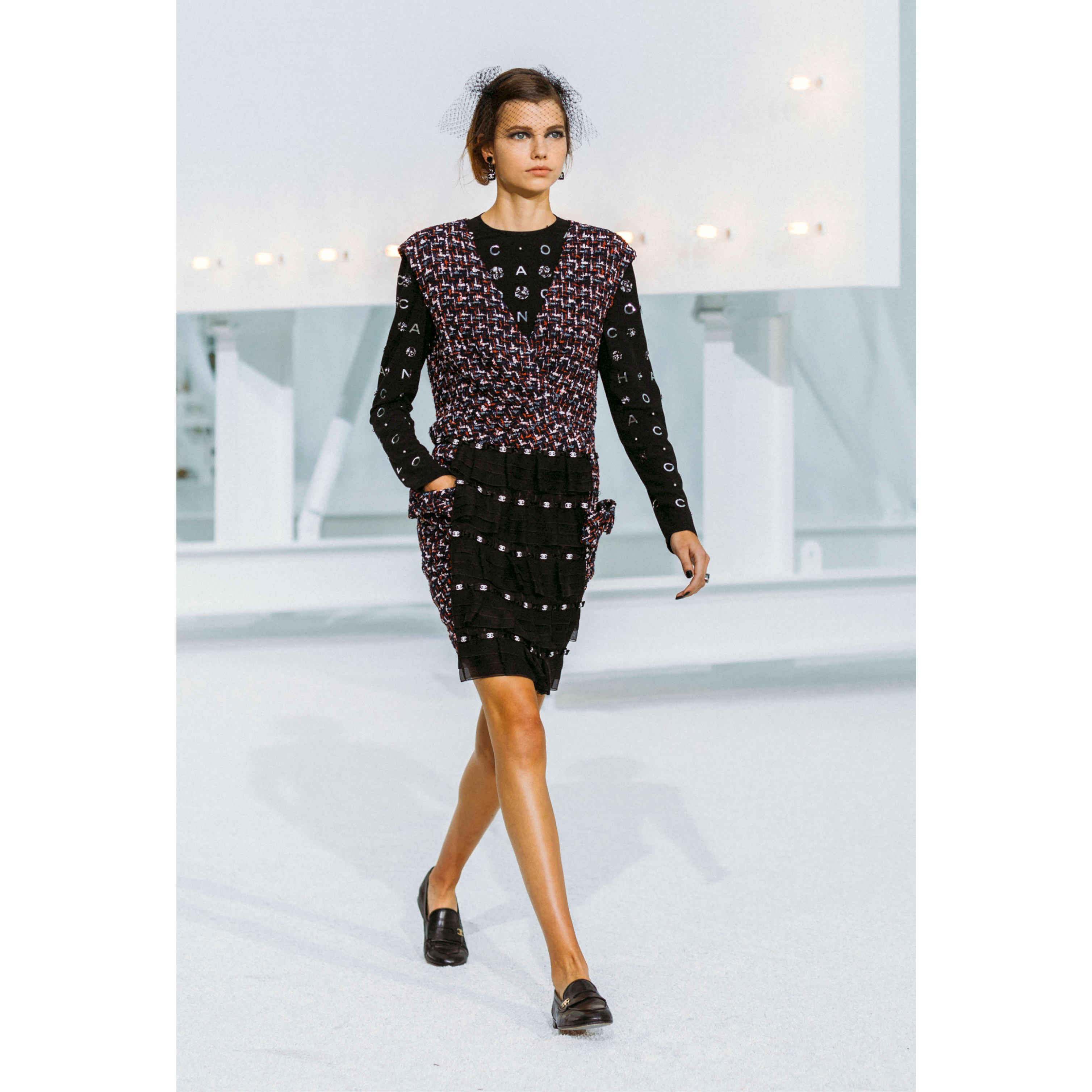 Dress - Navy Blue, Black, Red & White - Embroidered Tweed - CHANEL - Default view - see standard sized version