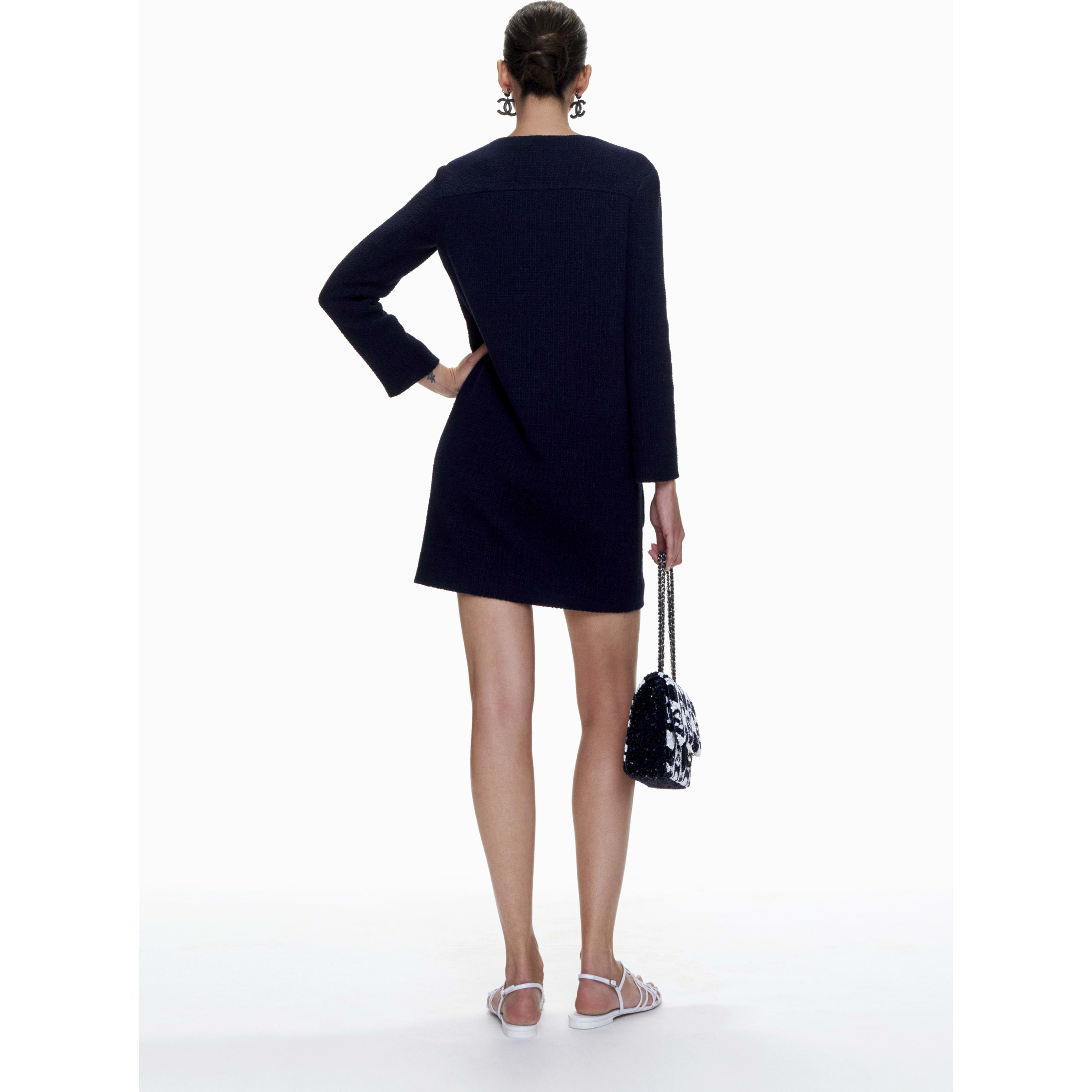 Dress - Navy Blue - Cotton Tweed - CHANEL - Other view - see standard sized version