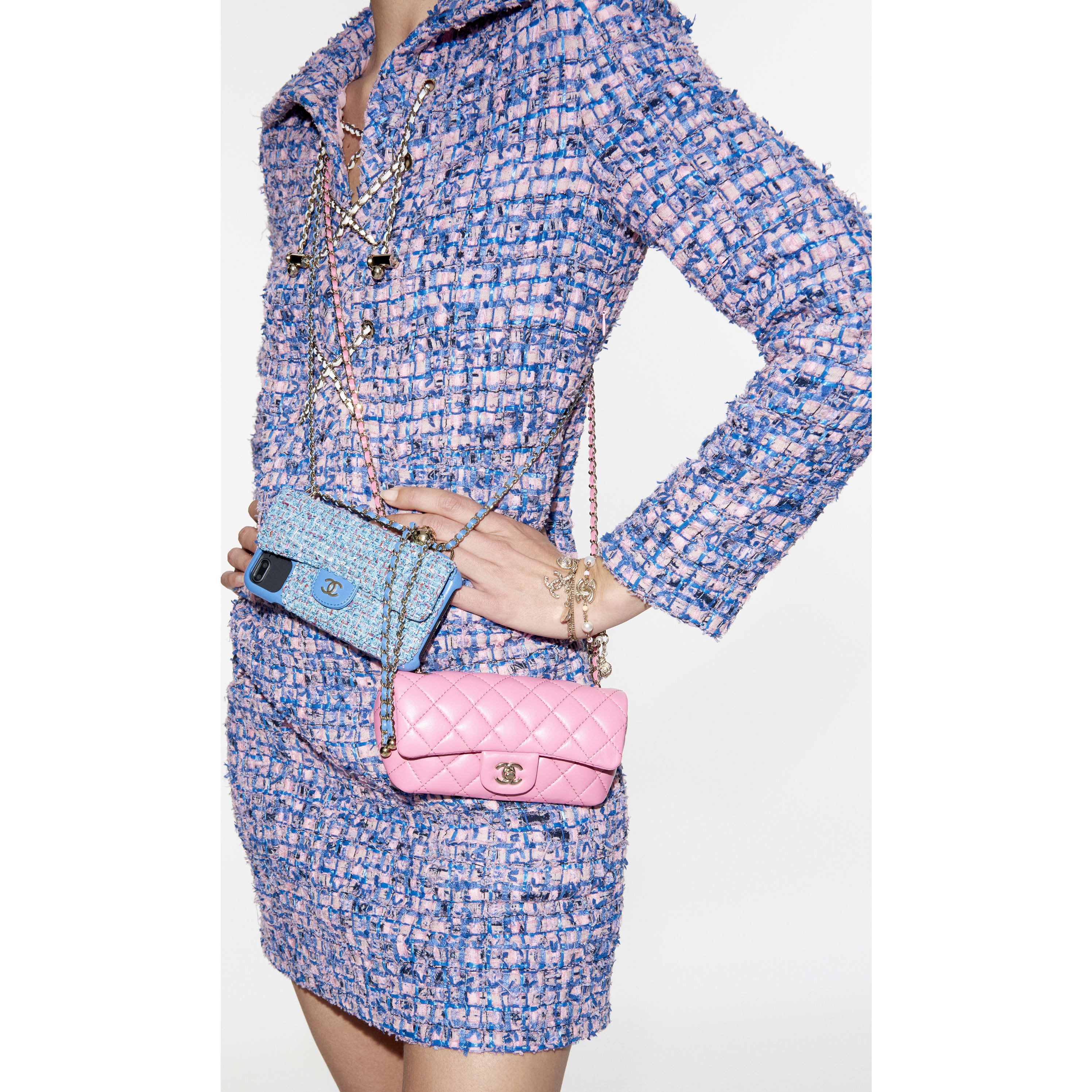 Dress - Pink, Blue & Black - Tweed - CHANEL - Alternative view - see standard sized version