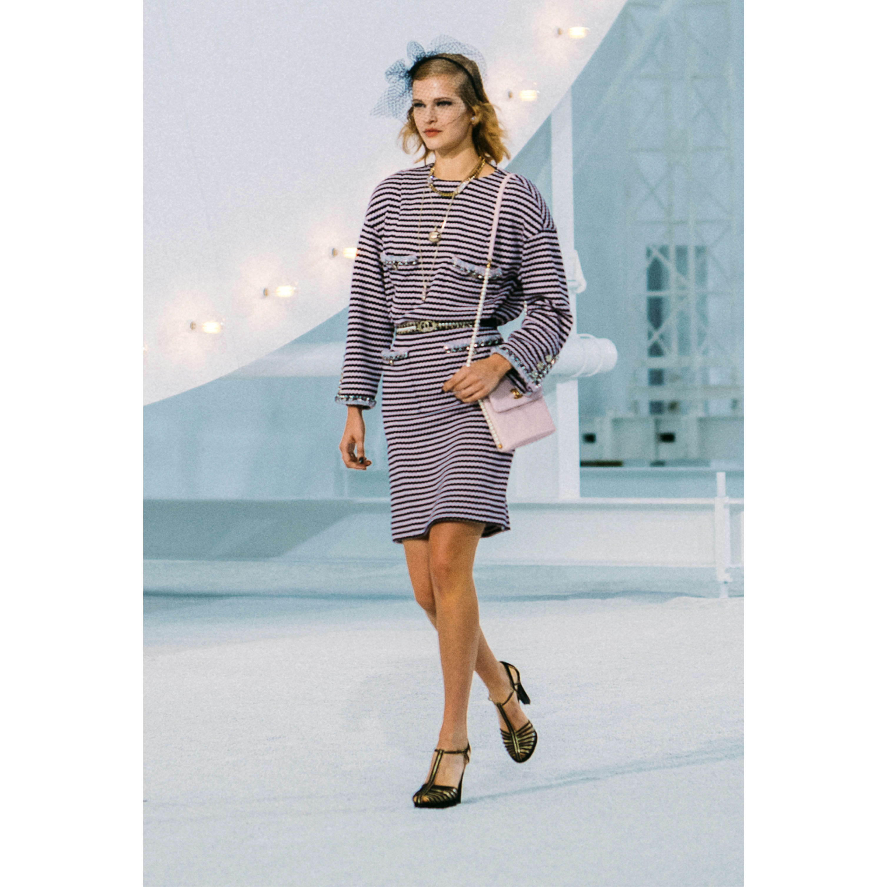 Dress - Pink & Navy Blue - Cotton - CHANEL - Default view - see standard sized version