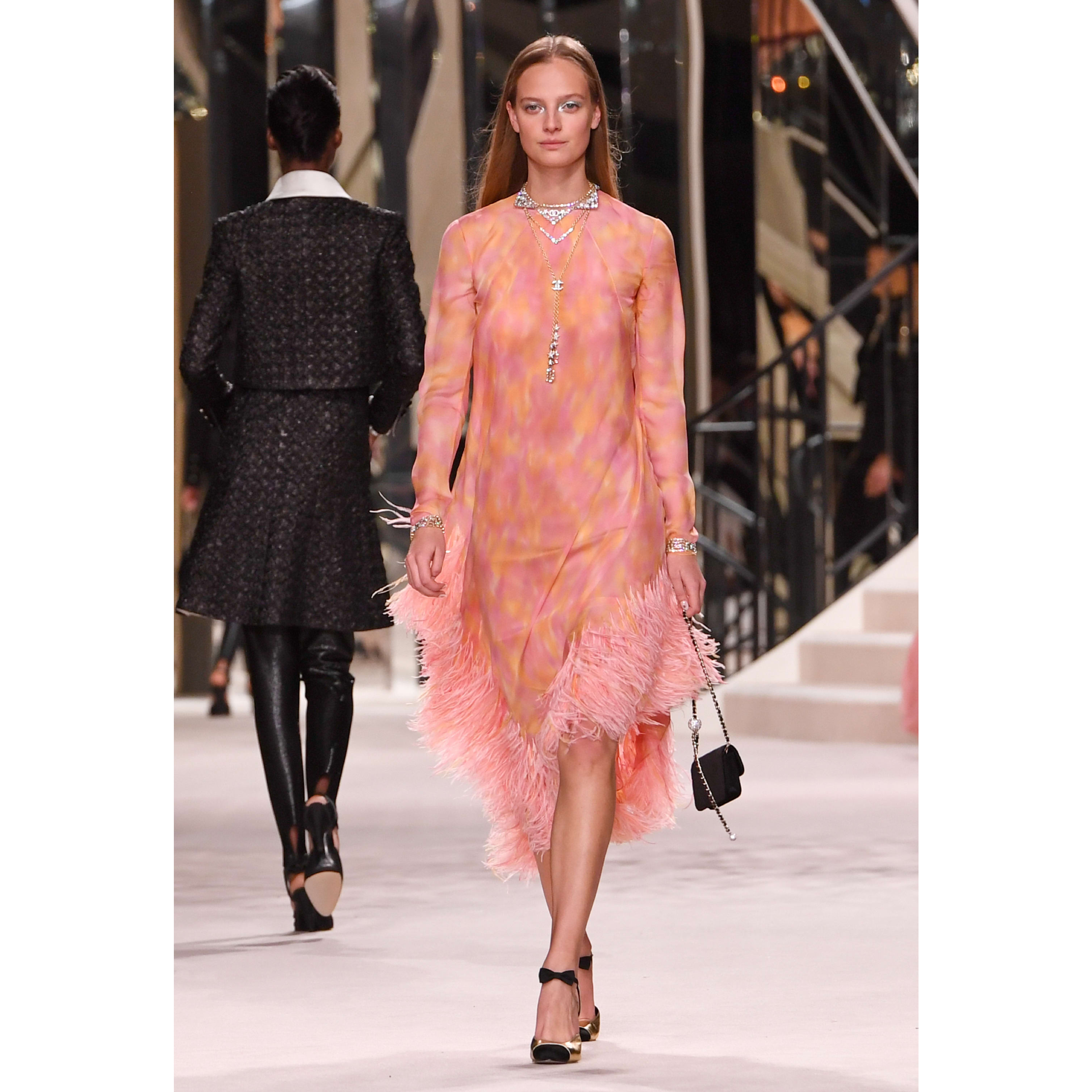 Dress - Pink & Yellow - Printed Silk Muslin Embroidered with Feathers - CHANEL - Default view - see standard sized version