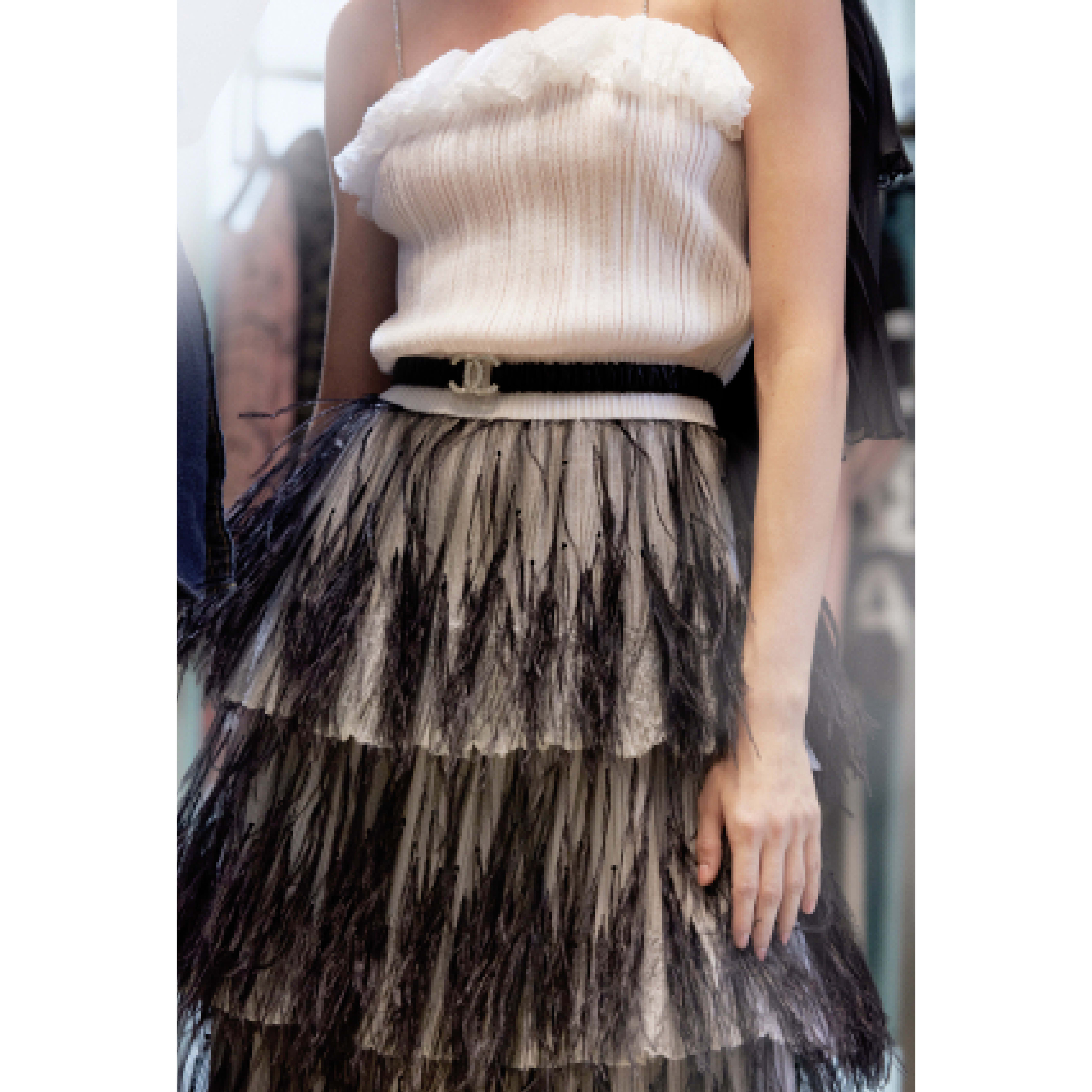 Dress - White & Black - Mixed Fibres & Tulle Embroidered with Feathers - CHANEL - Alternative view - see standard sized version