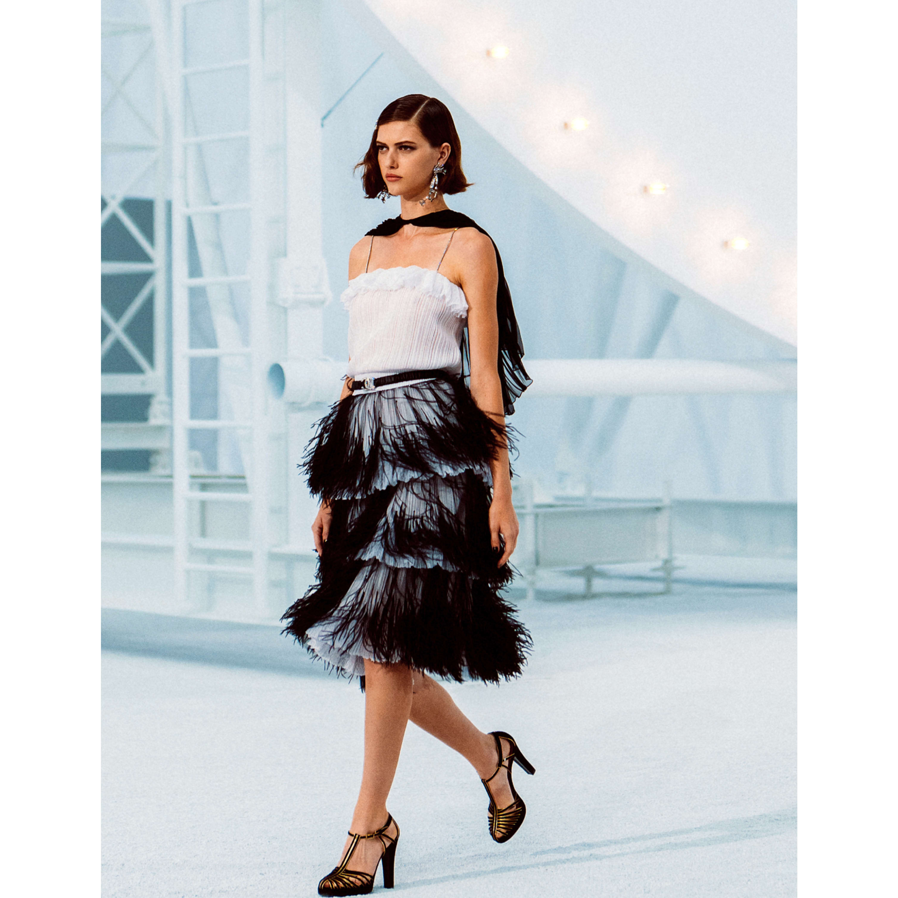 Dress - White & Black - Mixed Fibres & Tulle Embroidered with Feathers - CHANEL - Default view - see standard sized version