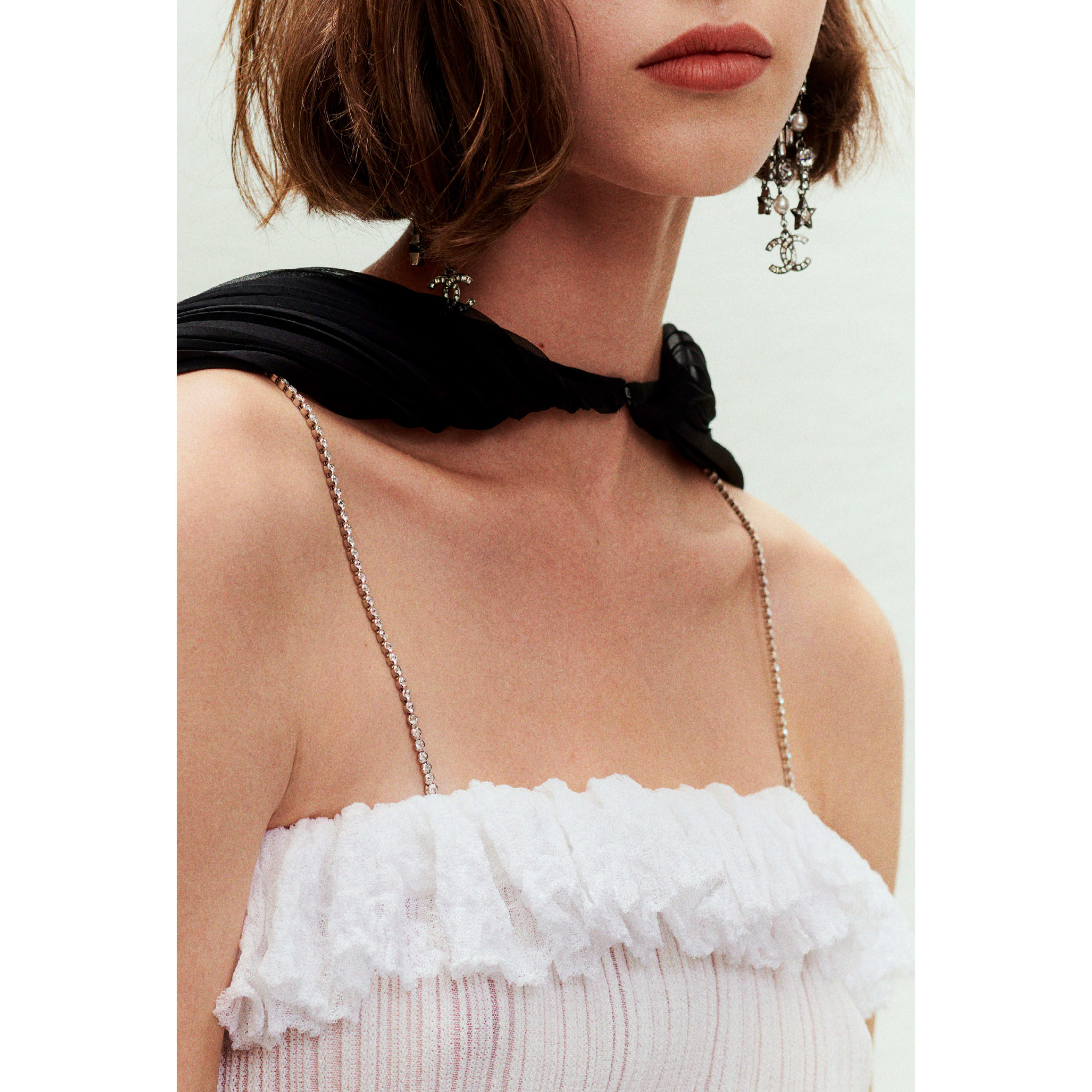 Dress - White & Black - Mixed Fibres & Tulle Embroidered with Feathers - CHANEL - Other view - see standard sized version