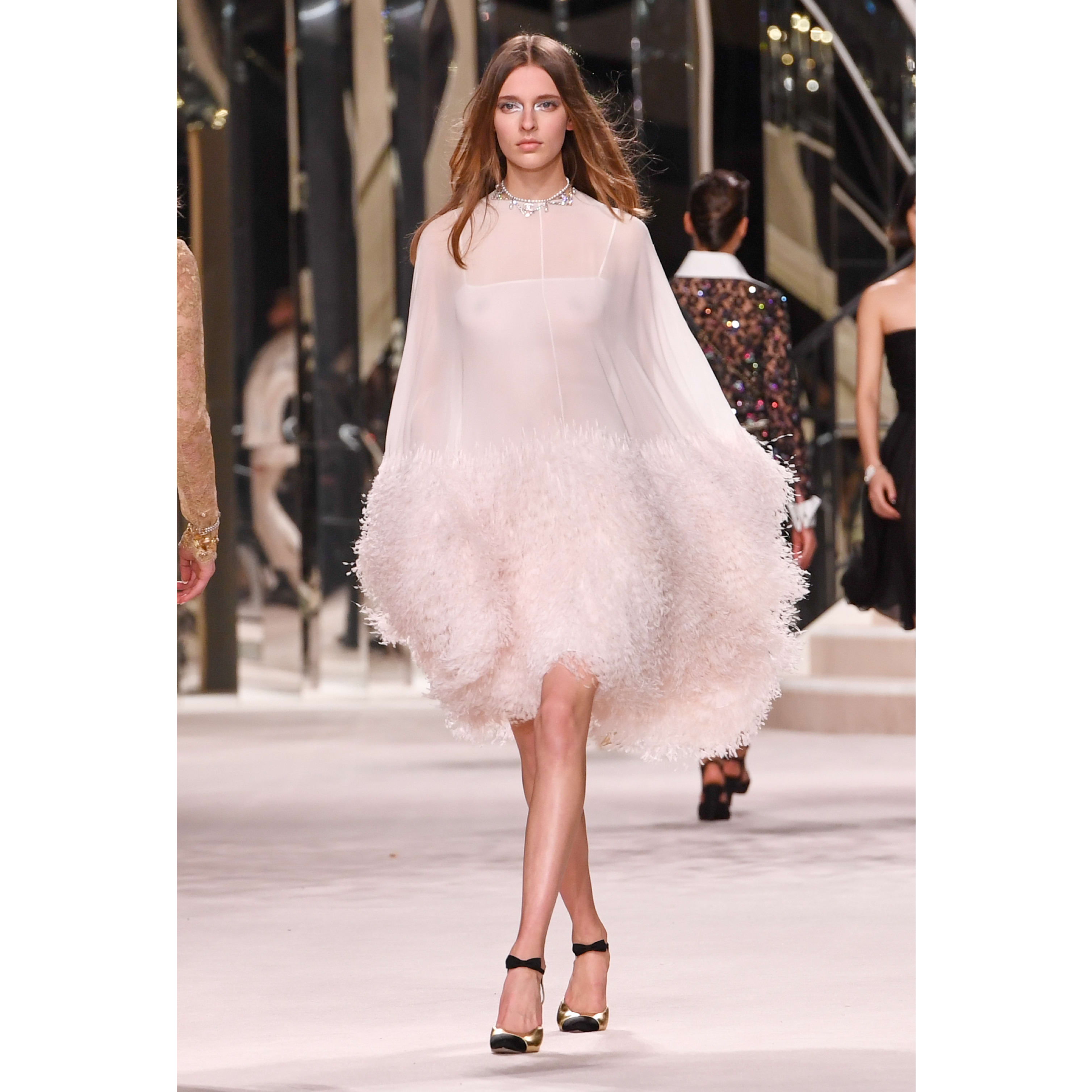 Dress - White - Georgette Crepe Embroidered with Feathers - CHANEL - Default view - see standard sized version