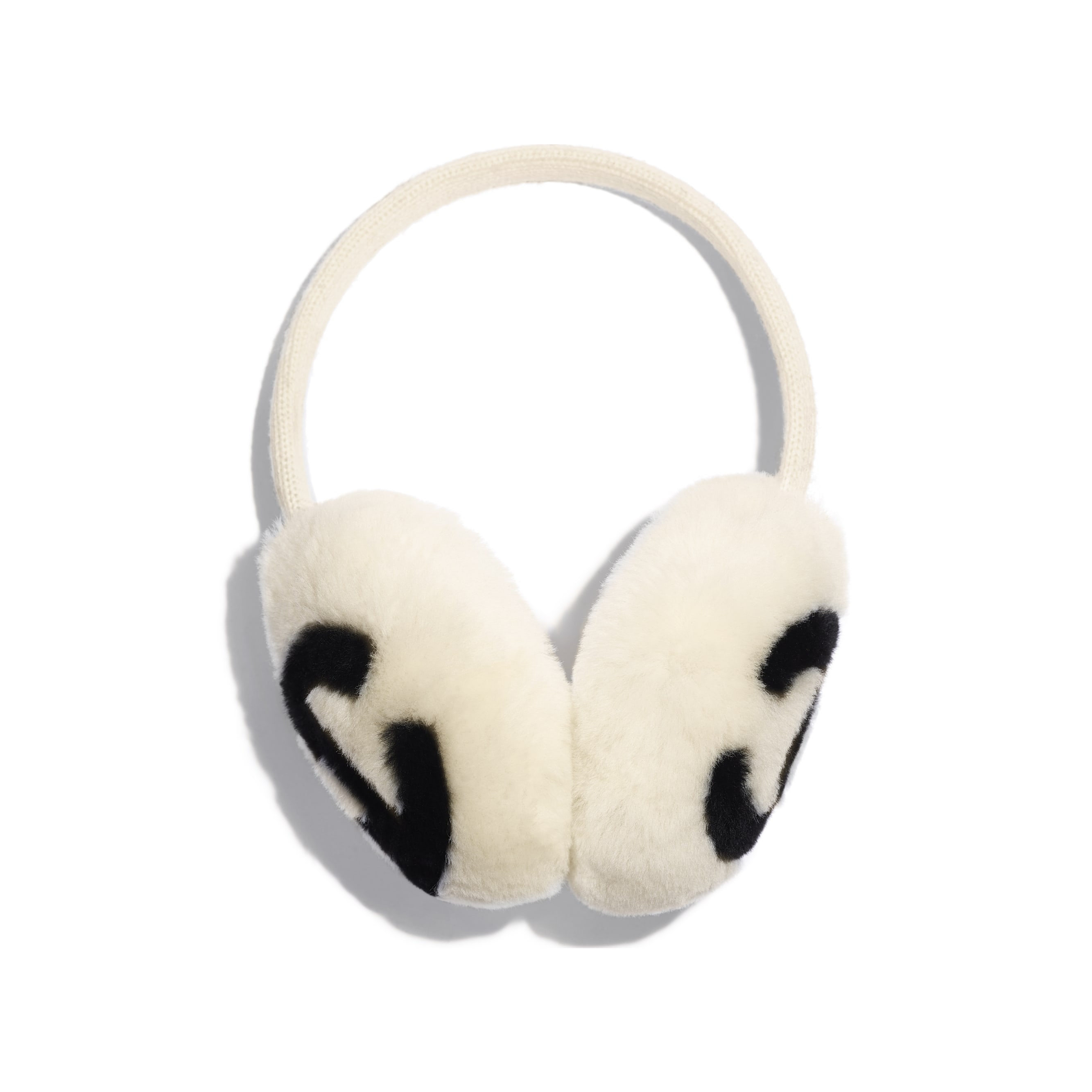 Earmuffs - Ivory & Black - Shearling & Cashmere - Alternative view - see standard sized version