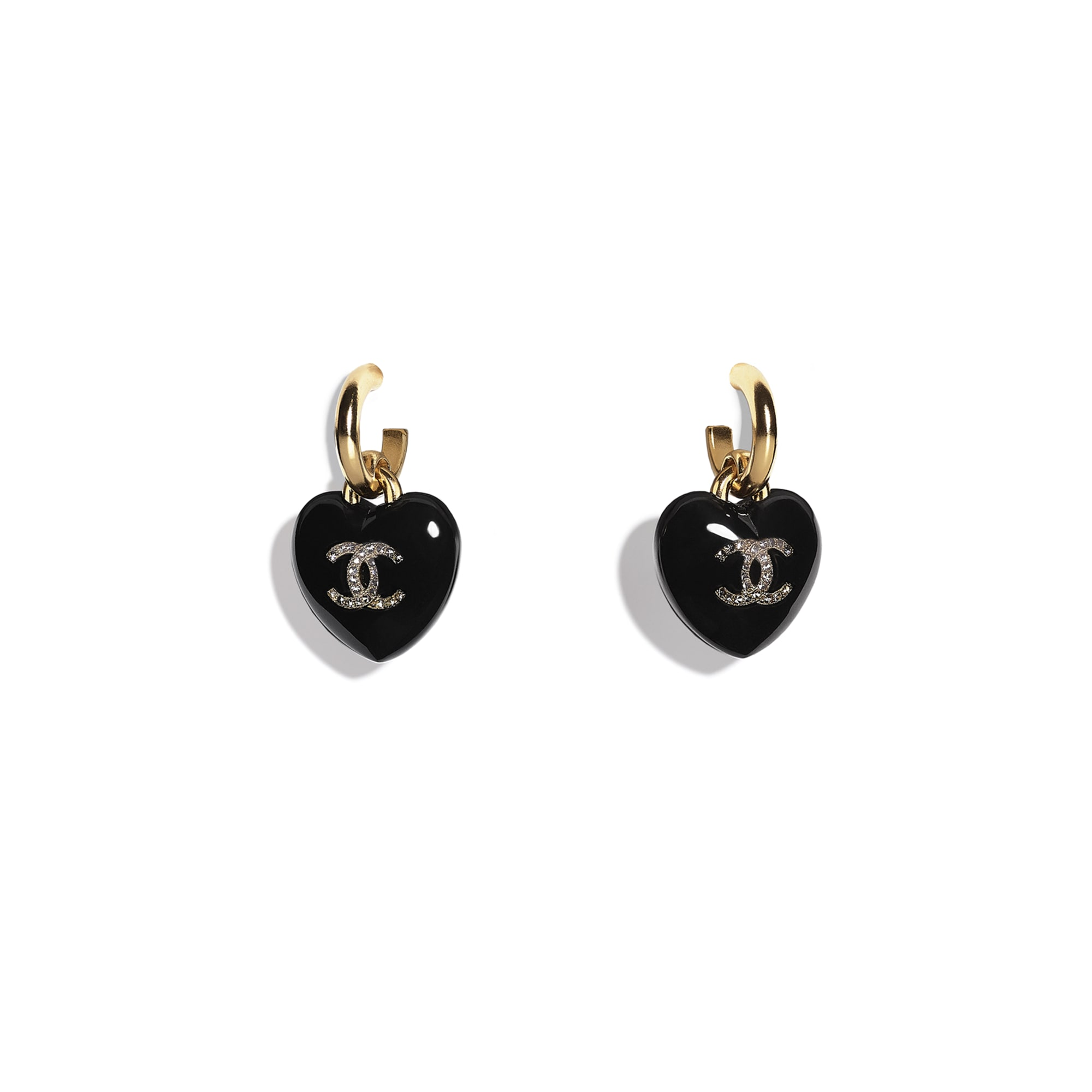 Earrings - Black, Crystal & Gold - Resin, Strass & Metal - CHANEL - Default view - see standard sized version