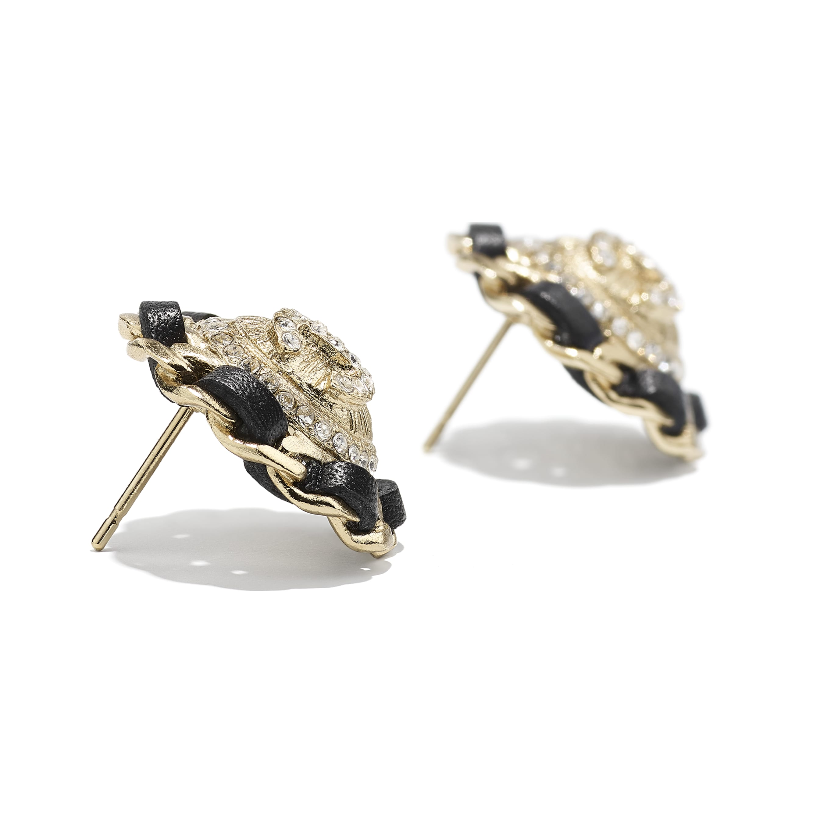 Earrings - Gold, Black & Crystal - Metal, calfskin & diamanté - CHANEL - Alternative view - see standard sized version