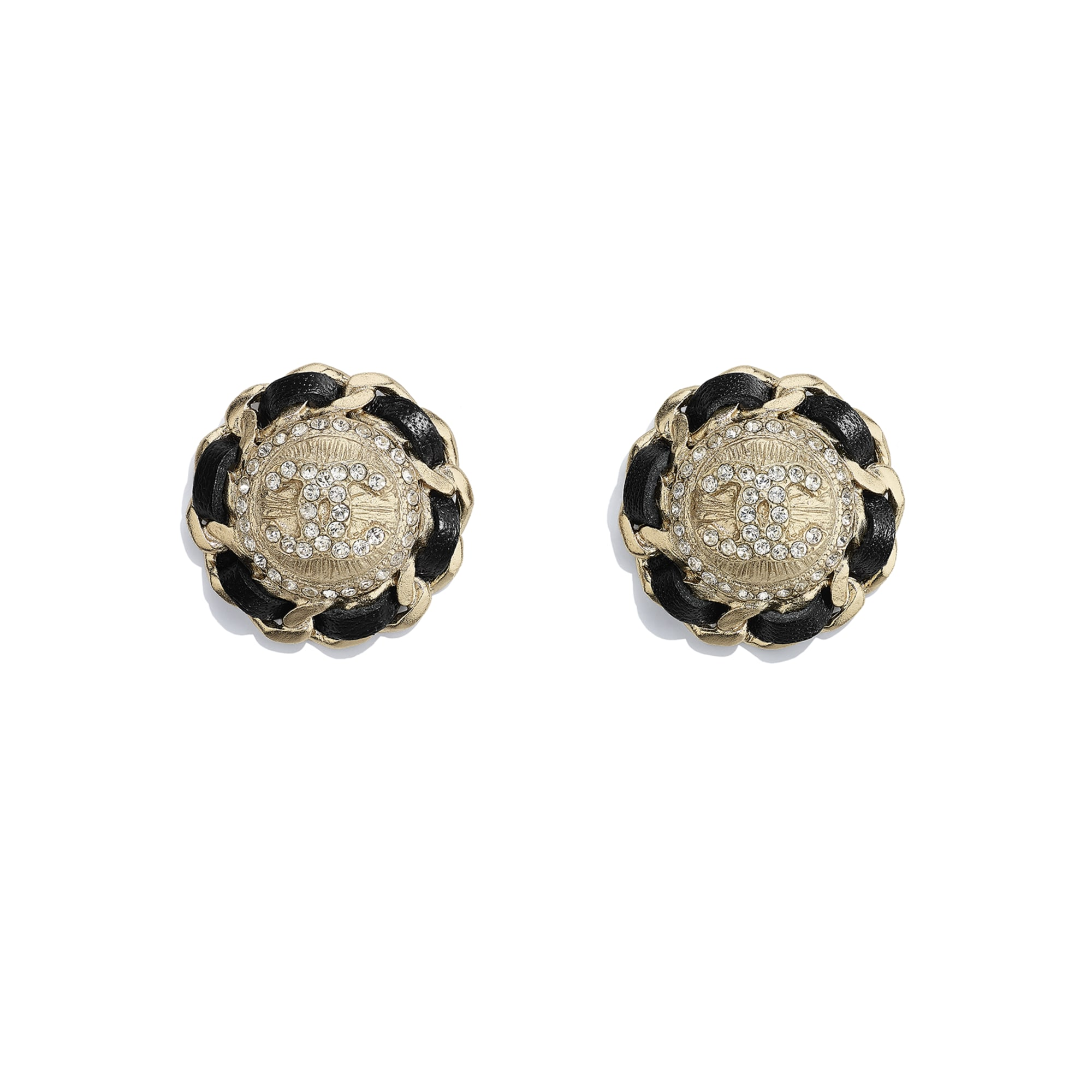 Earrings - Gold, Black & Crystal - Metal, calfskin & diamanté - CHANEL - Default view - see standard sized version