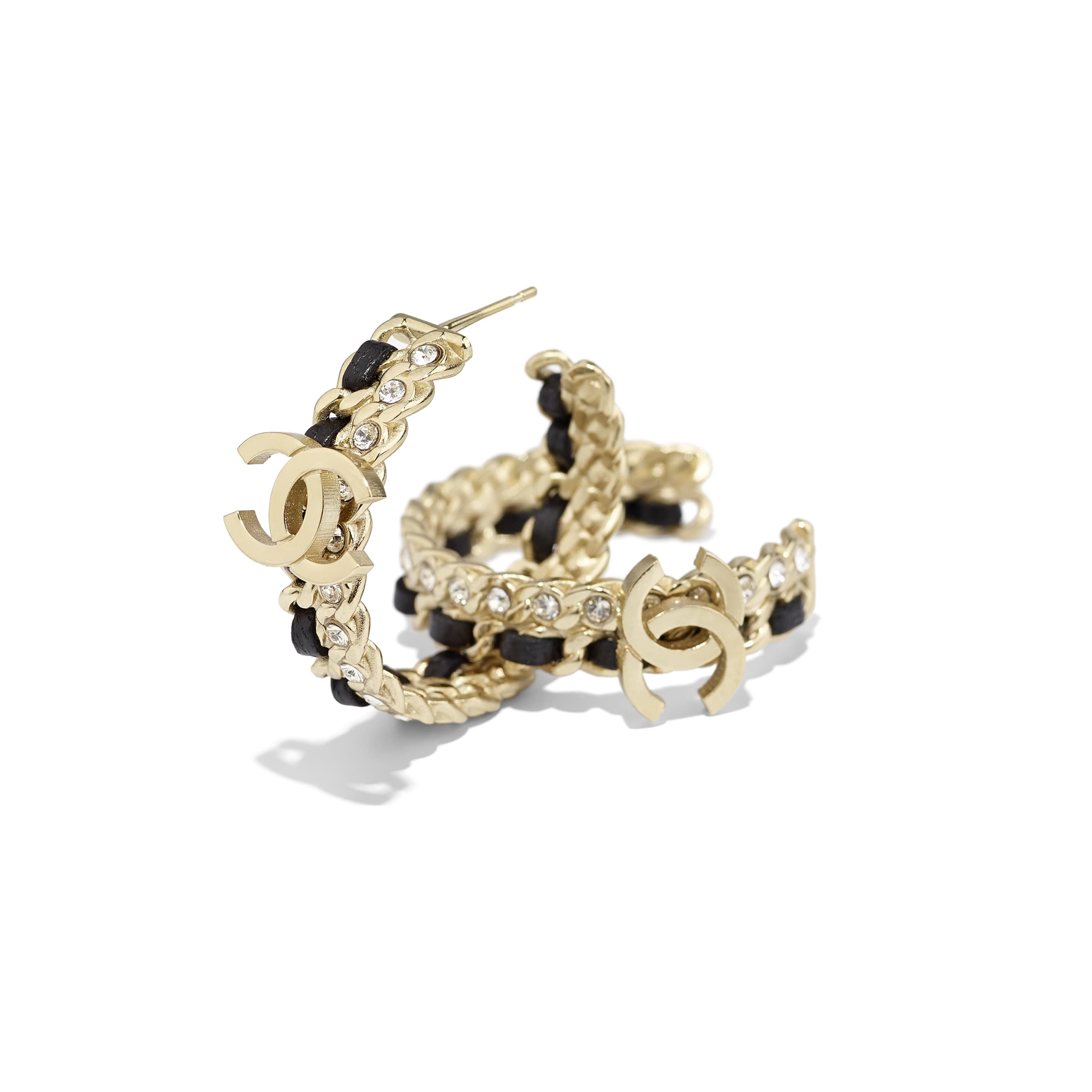 Earrings - Gold, Black & Crystal - Metal, Lambskin & Strass - Alternative view - see standard sized version