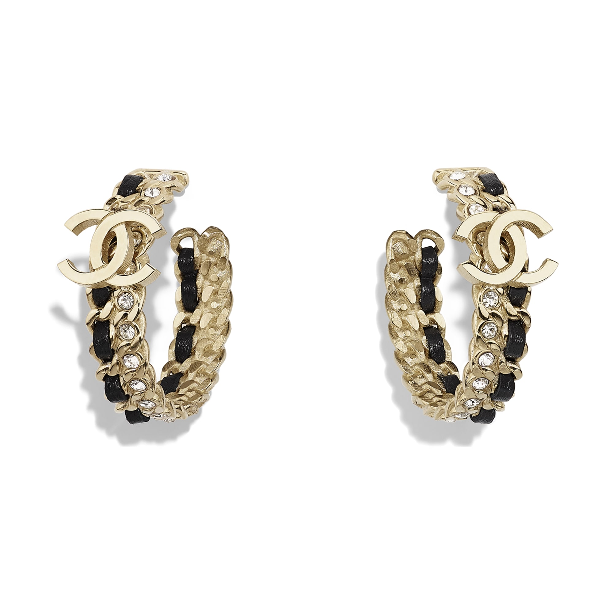 Earrings - Gold, Black & Crystal - Metal, Lambskin & Strass - Default view - see standard sized version