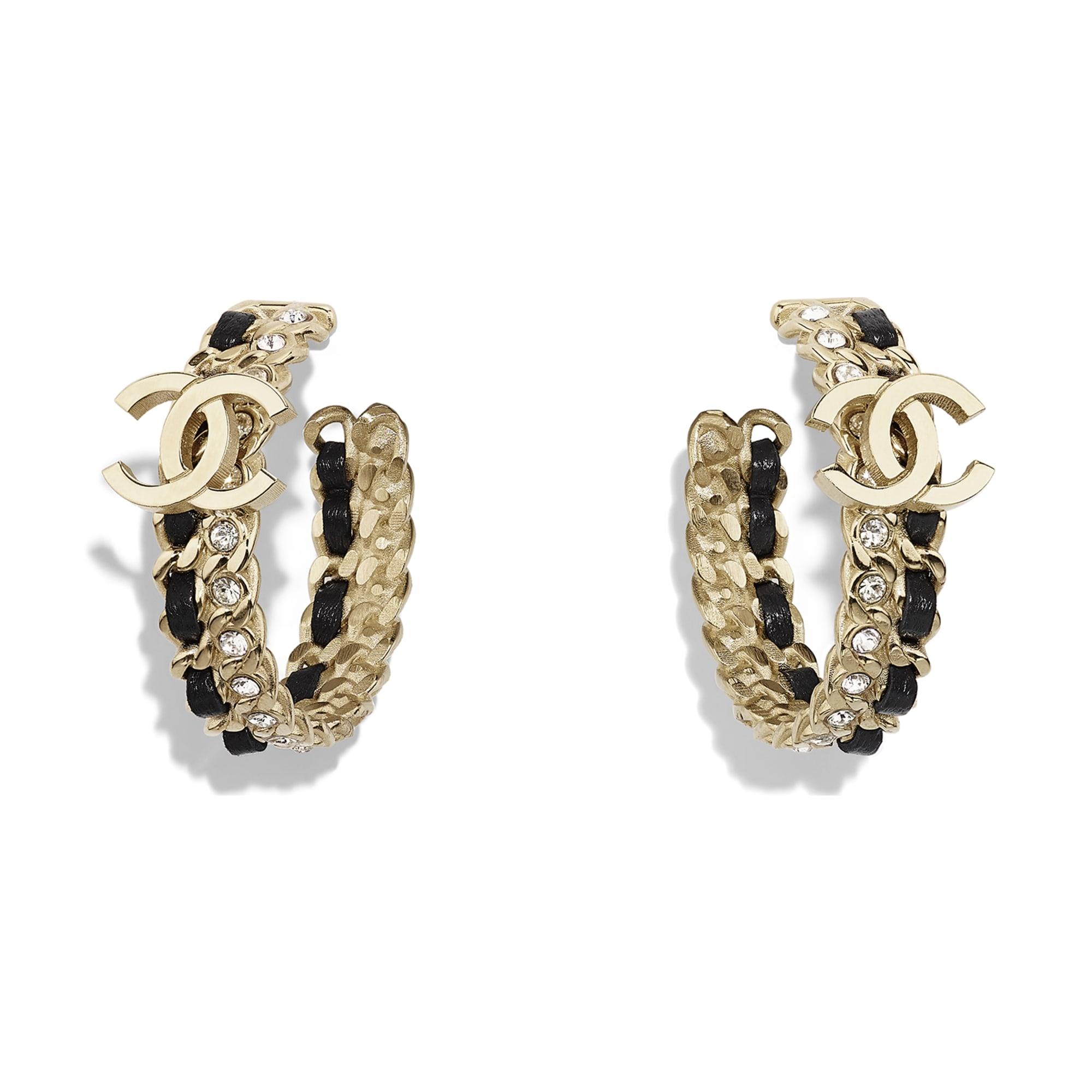 Earrings - Gold, Black & Crystal - Metal, Lambskin & Strass - CHANEL - Default view - see standard sized version