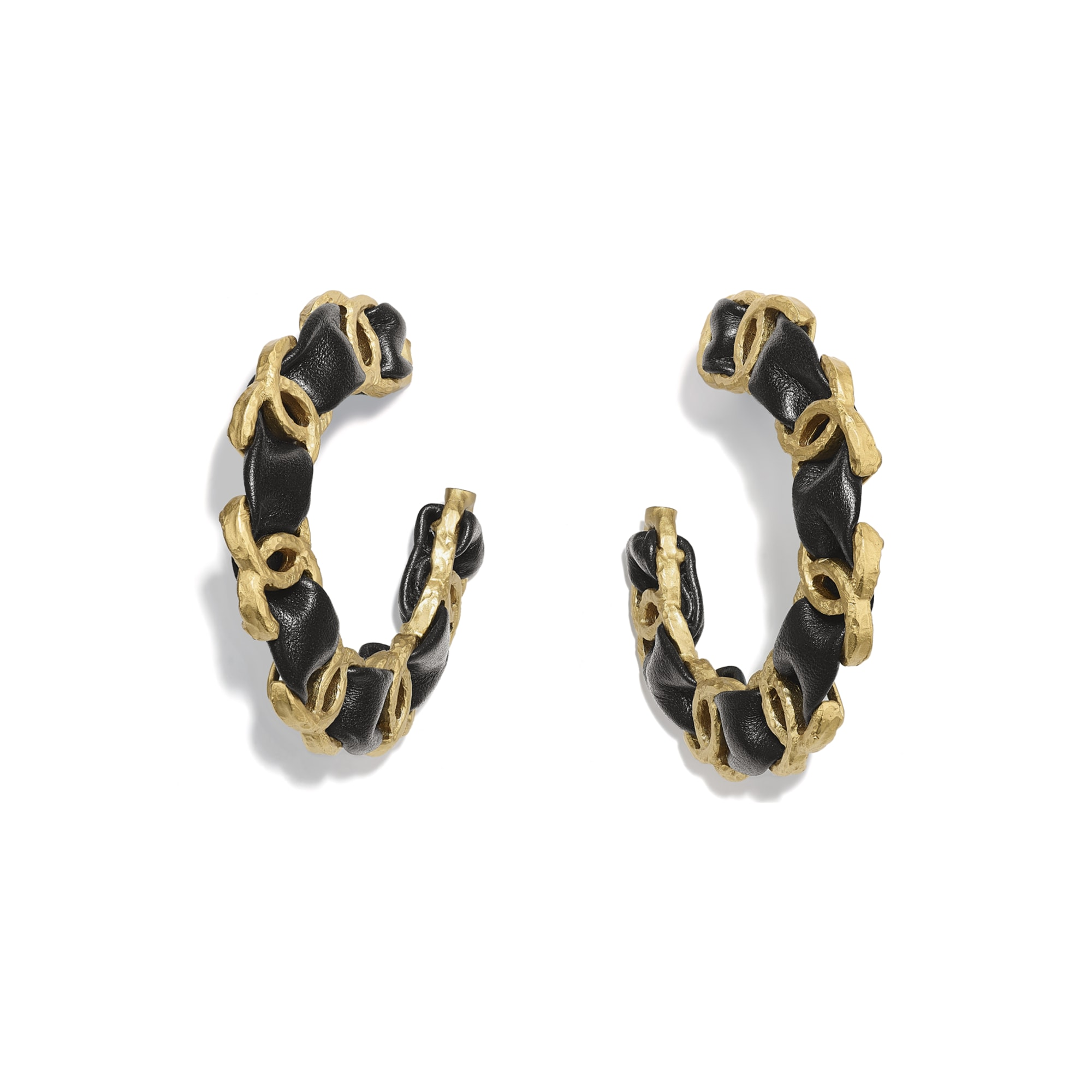 Earrings - Gold & Black - Metal & Calfskin - CHANEL - Default view - see standard sized version