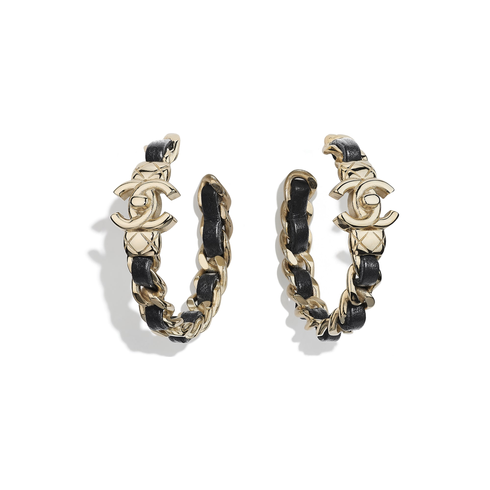 Earrings - Gold & Black - Metal & Lambskin - CHANEL - Default view - see standard sized version