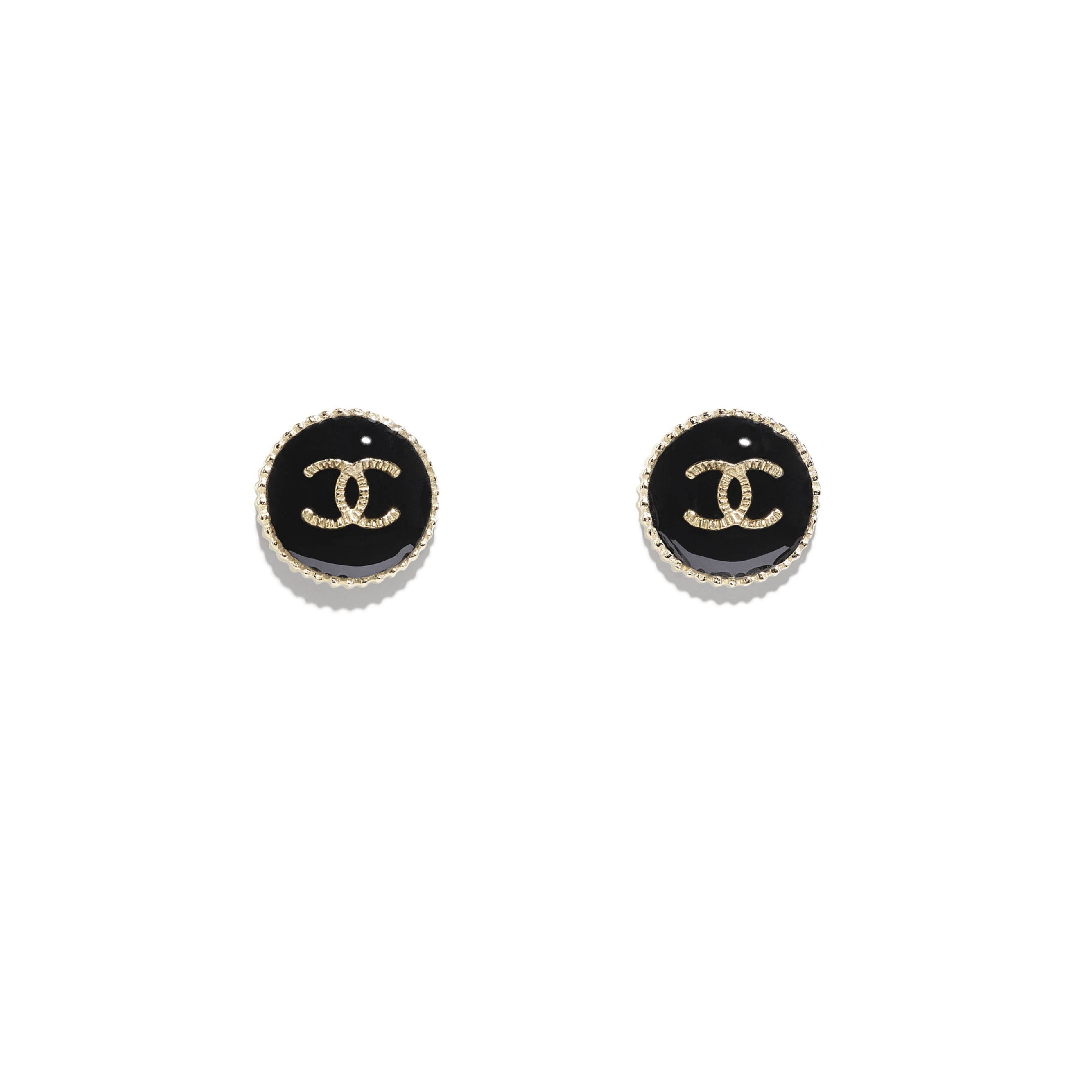 Earrings - Gold & Black - Metal & Resin - CHANEL - Default view - see standard sized version