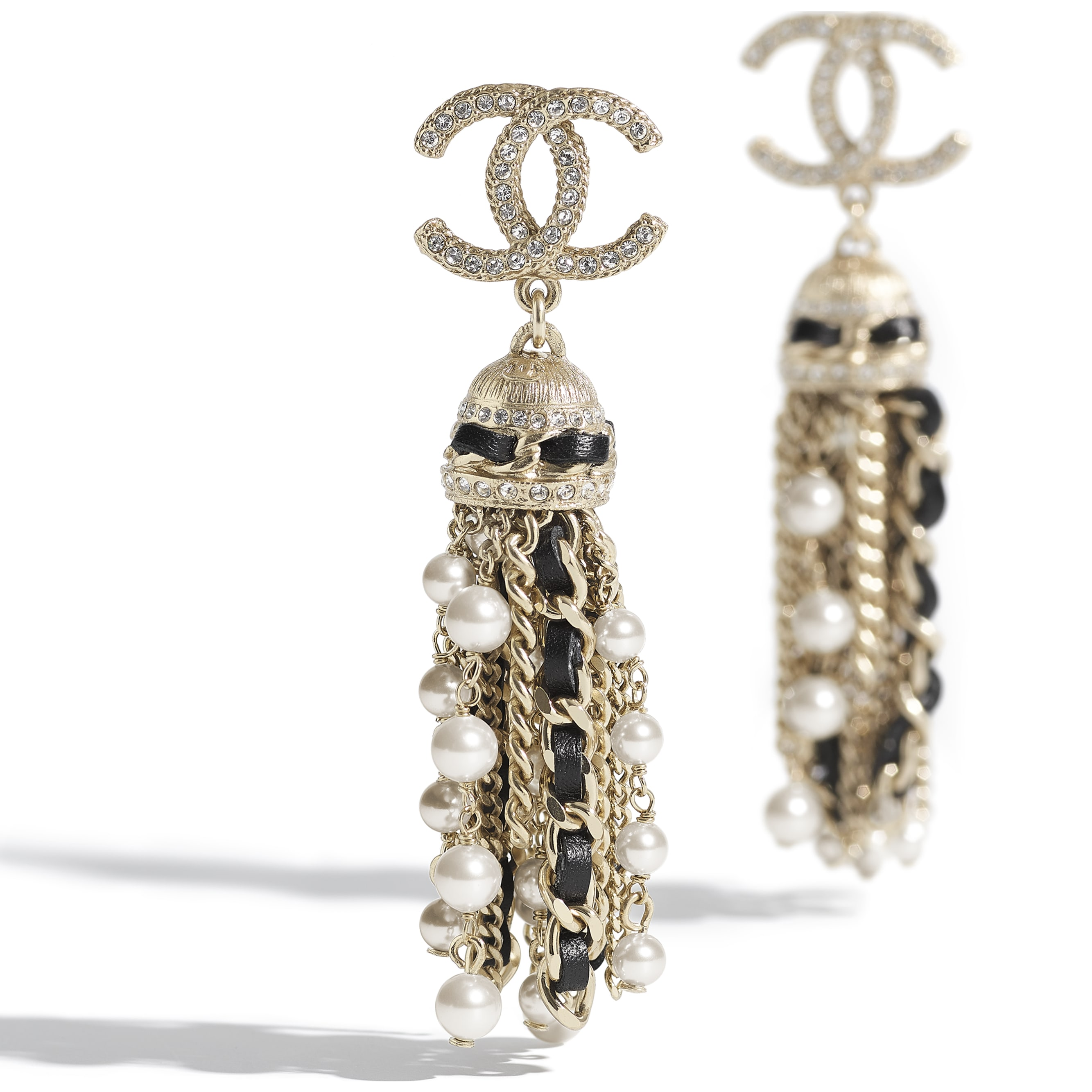 Earrings - Gold, Black, Pearly White & Crystal - Metal, Calfskin, Glass Pearls & Strass - CHANEL - Alternative view - see standard sized version