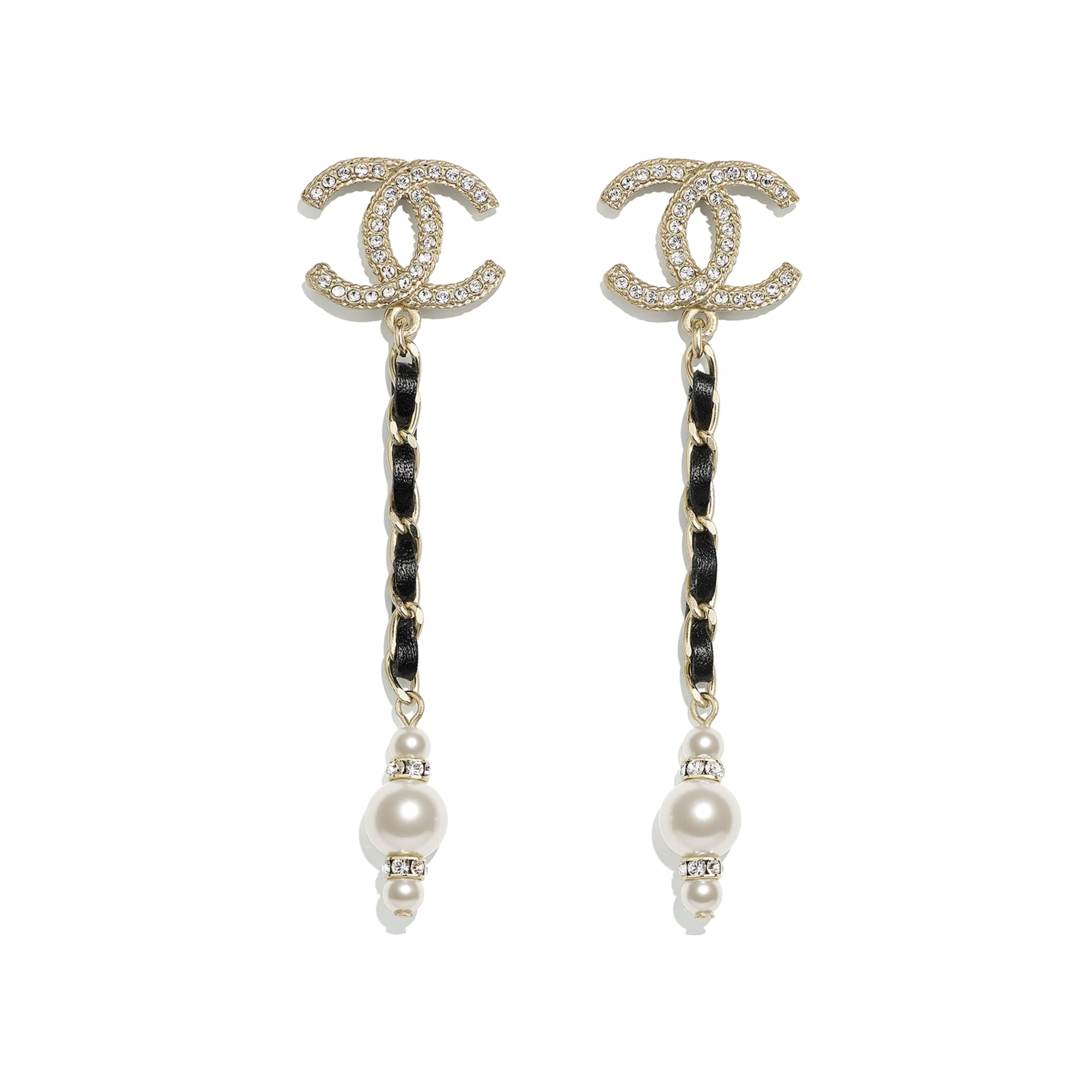 Earrings - Gold, Black, Pearly White & Crystal - Metal, Calfskin, Glass Pearls & Strass - CHANEL - Default view - see standard sized version