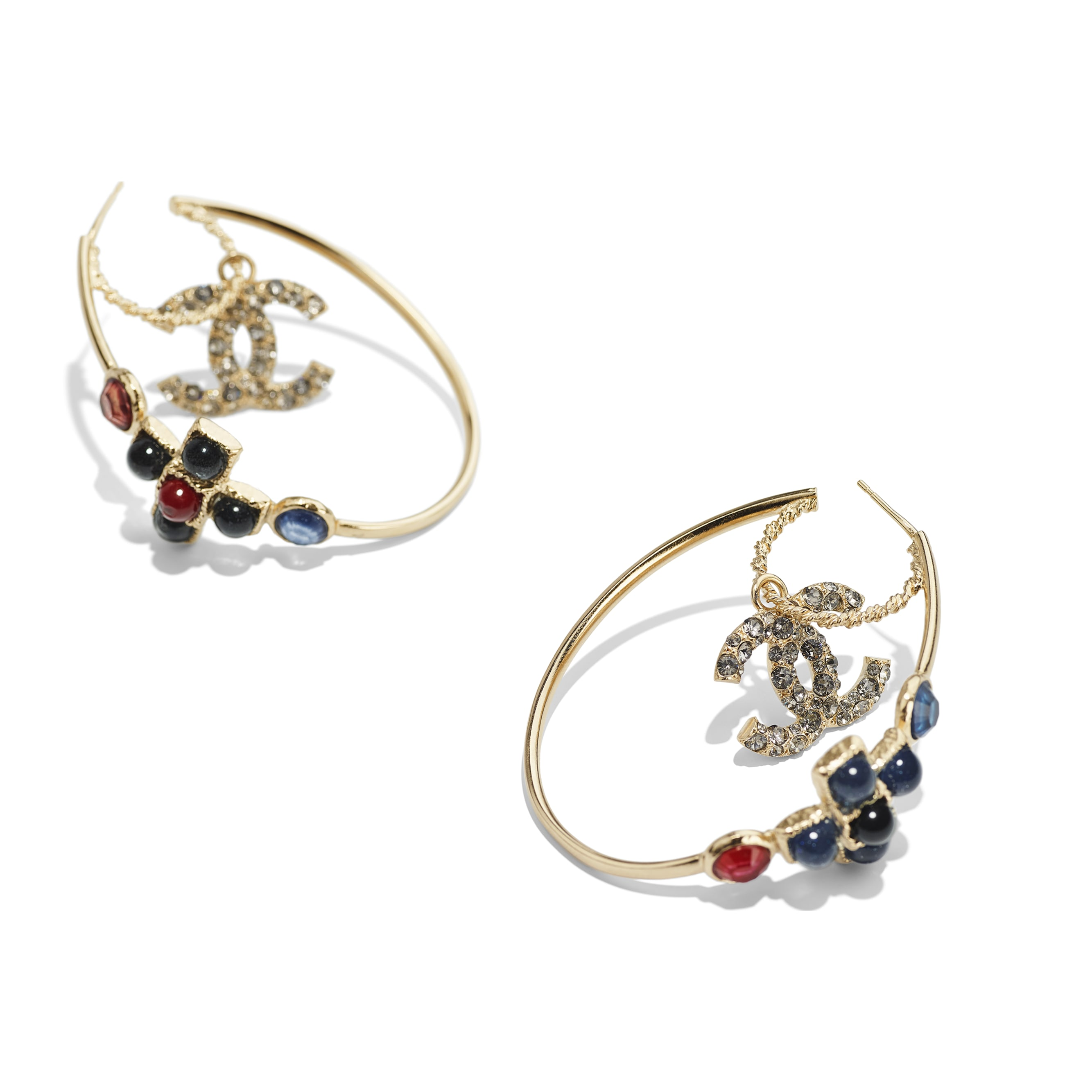 Earrings - Gold, Blue, Burgundy & Crystal - Metal, Glass Pearls & Diamantés - Alternative view - see standard sized version