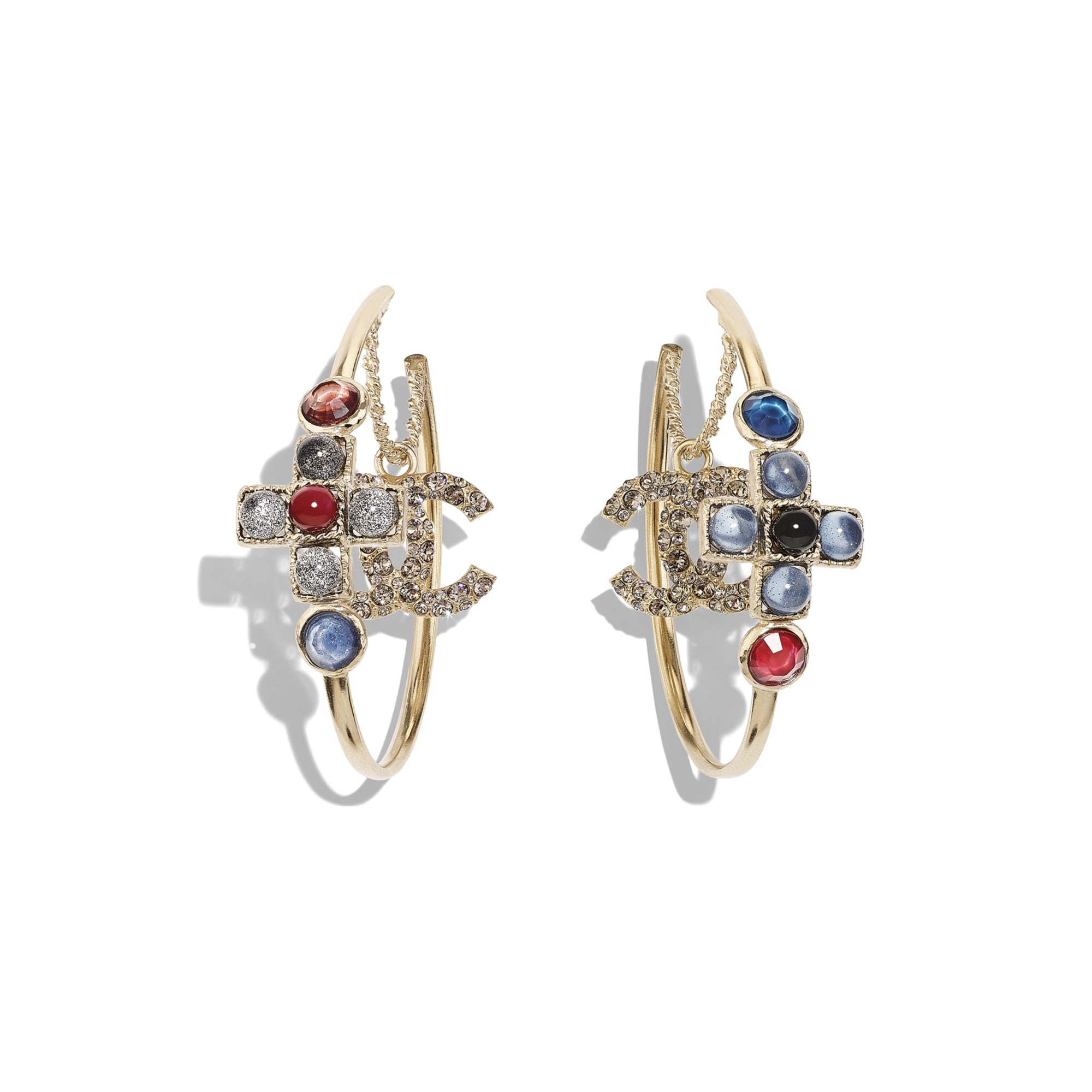 Earrings - Gold, Blue, Burgundy & Crystal - Metal, Glass Pearls & Diamantés - Default view - see standard sized version