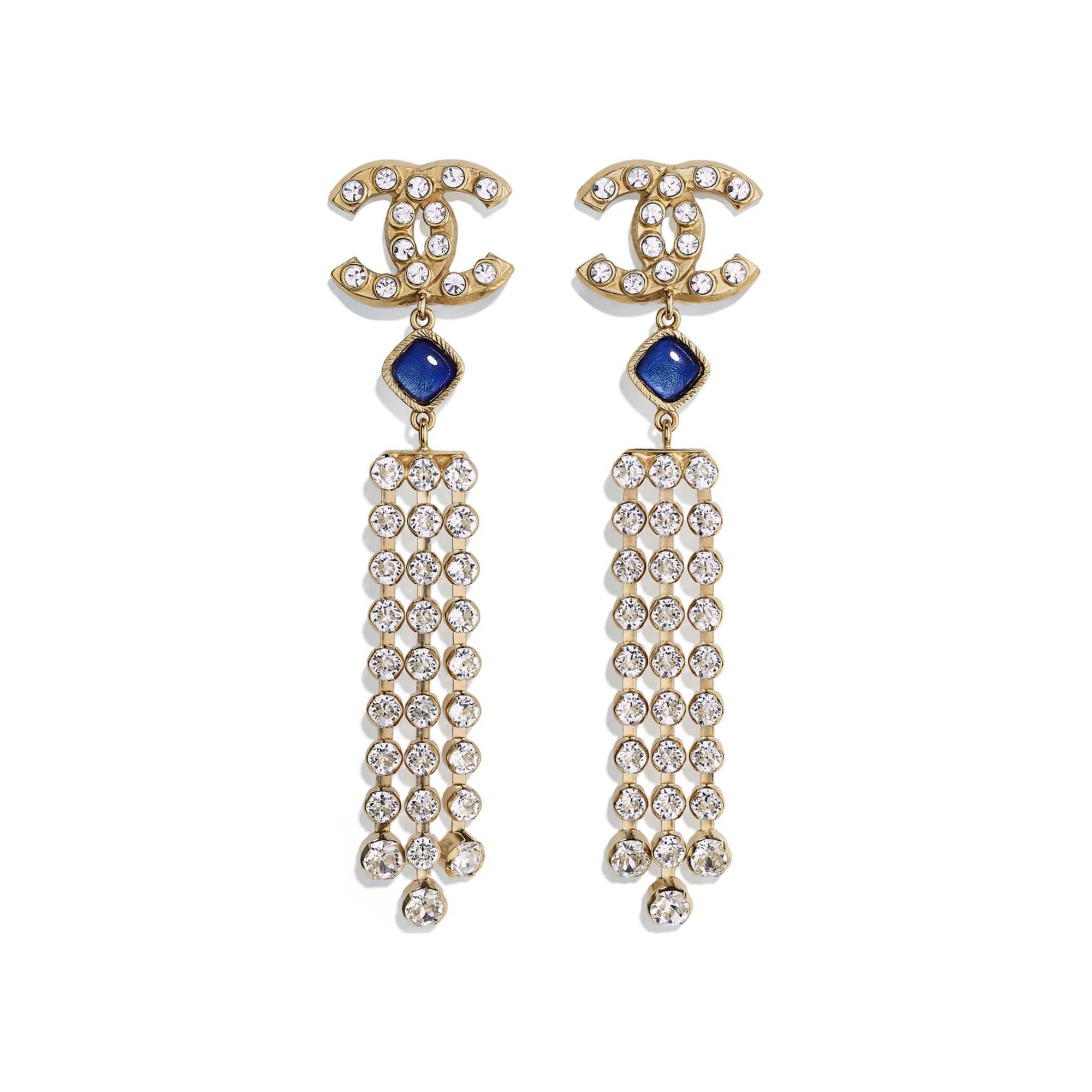 Earrings - Gold, Blue & Crystal - Metal, Glass & Diamanté - Default view - see standard sized version
