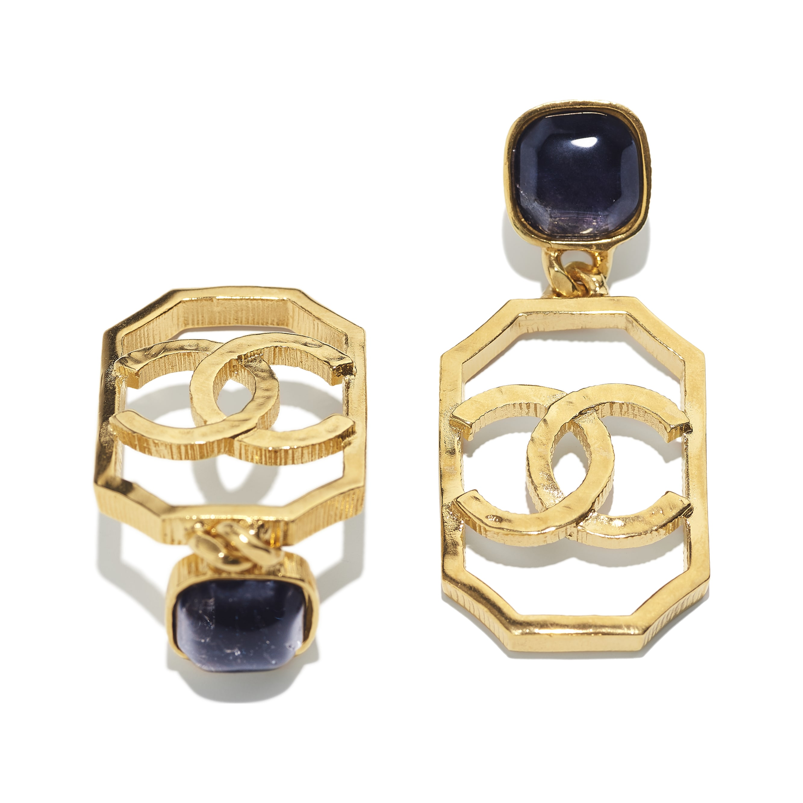Earrings - Gold & Blue - Metal & Natural Stones - CHANEL - Alternative view - see standard sized version