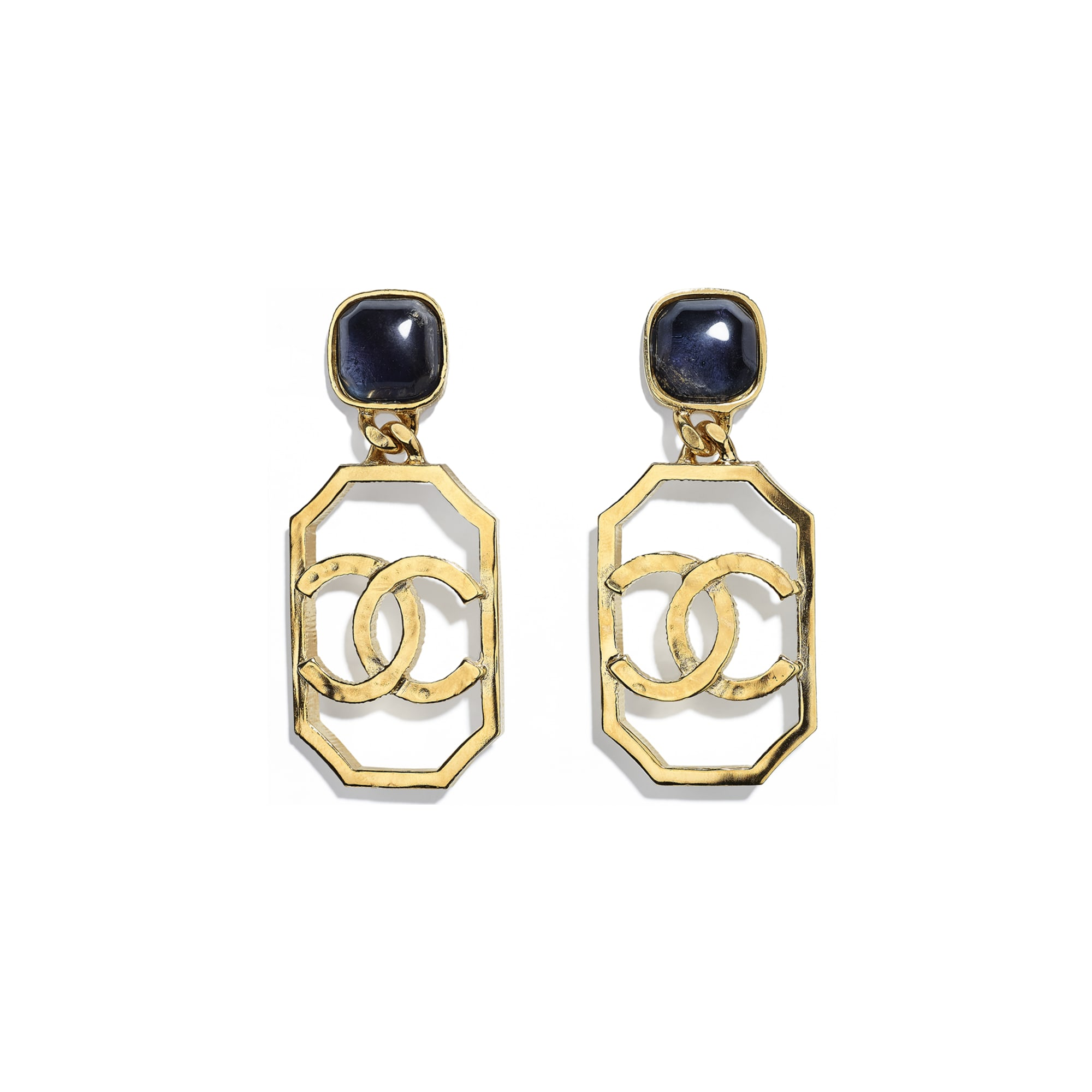 Earrings - Gold & Blue - Metal & Natural Stones - CHANEL - Default view - see standard sized version