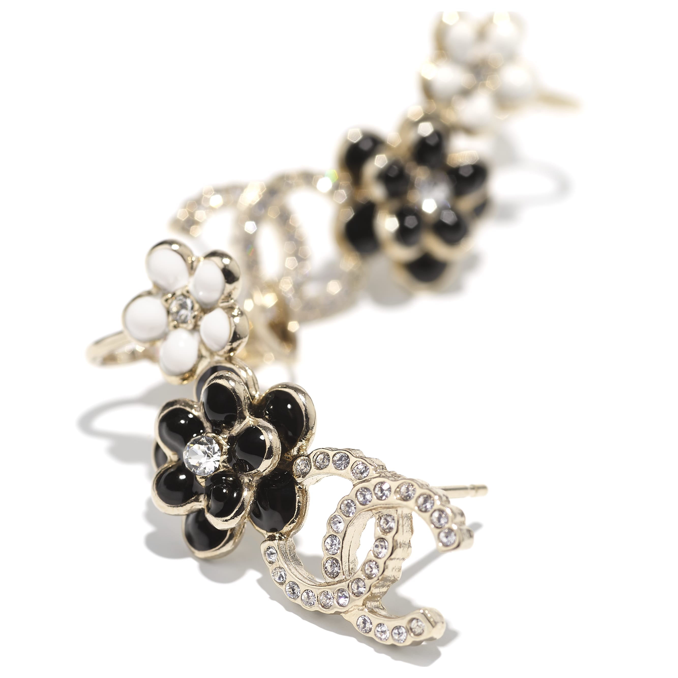 Earrings - Gold, Crystal, Black & White - Metal, Diamantés & Resin - CHANEL - Alternative view - see standard sized version