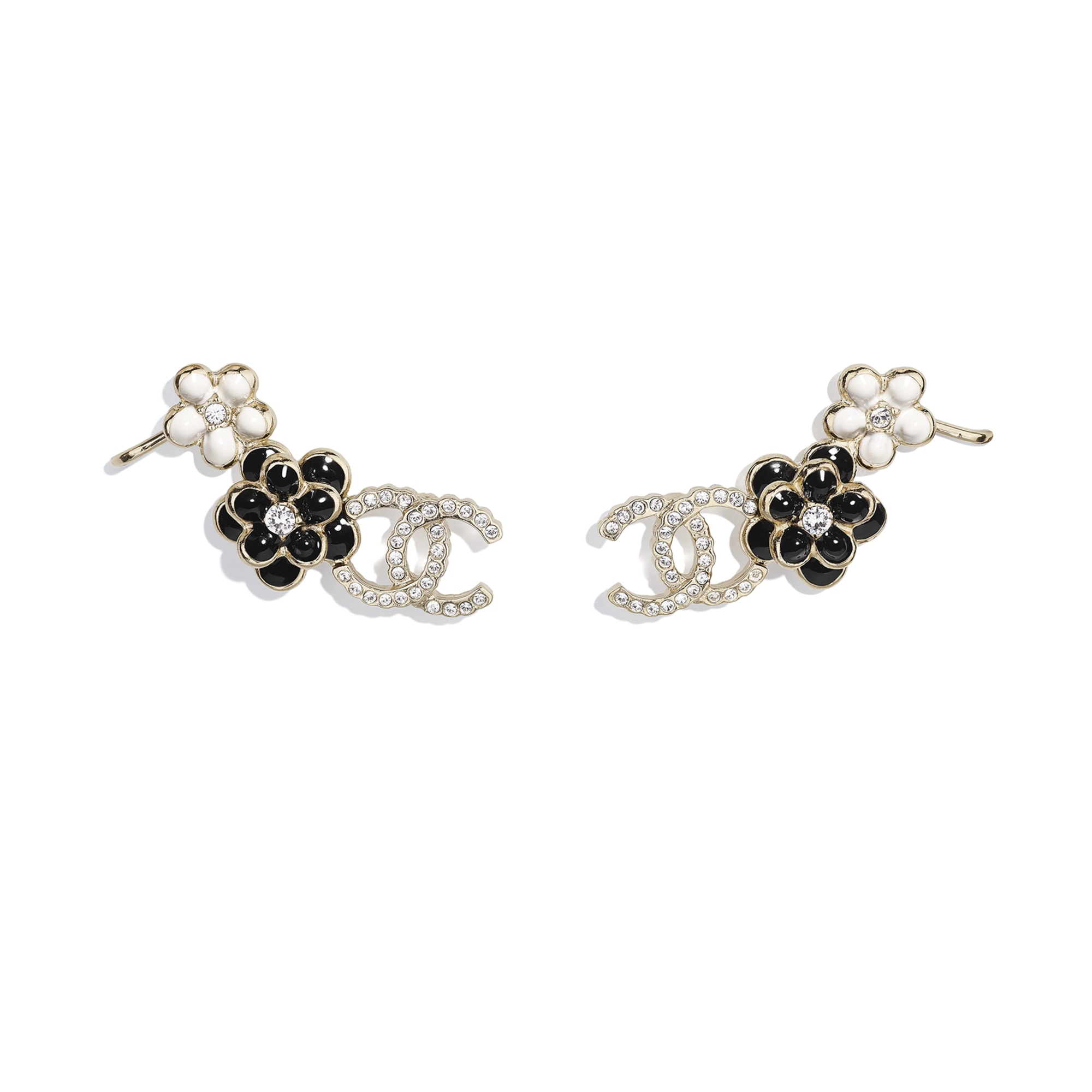 Earrings - Gold, Crystal, Black & White - Metal, Diamantés & Resin - CHANEL - Default view - see standard sized version