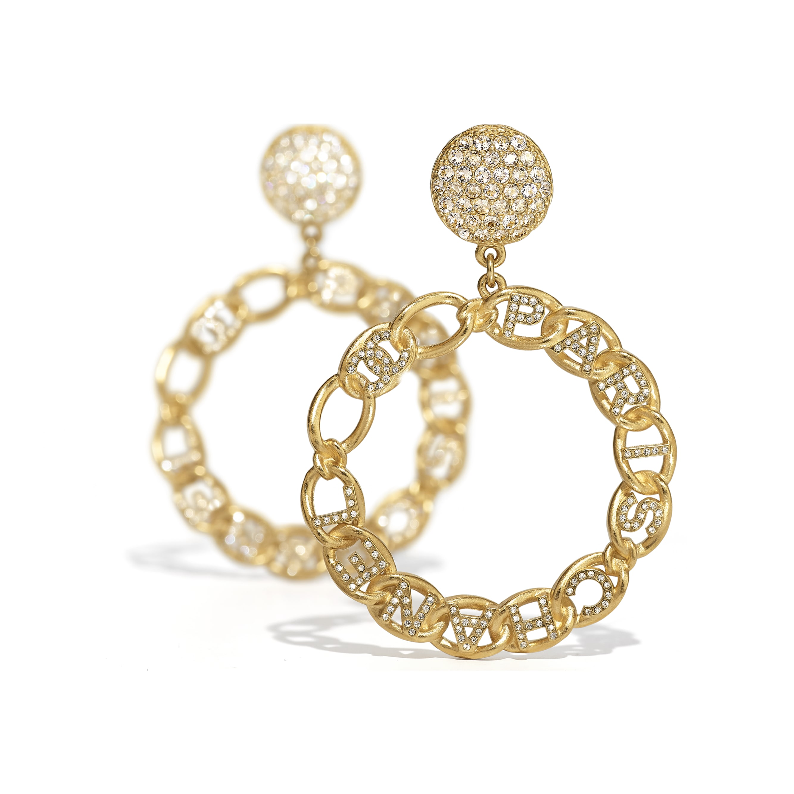Earrings - Gold & Crystal - Metal & Diamantés - CHANEL - Alternative view - see standard sized version