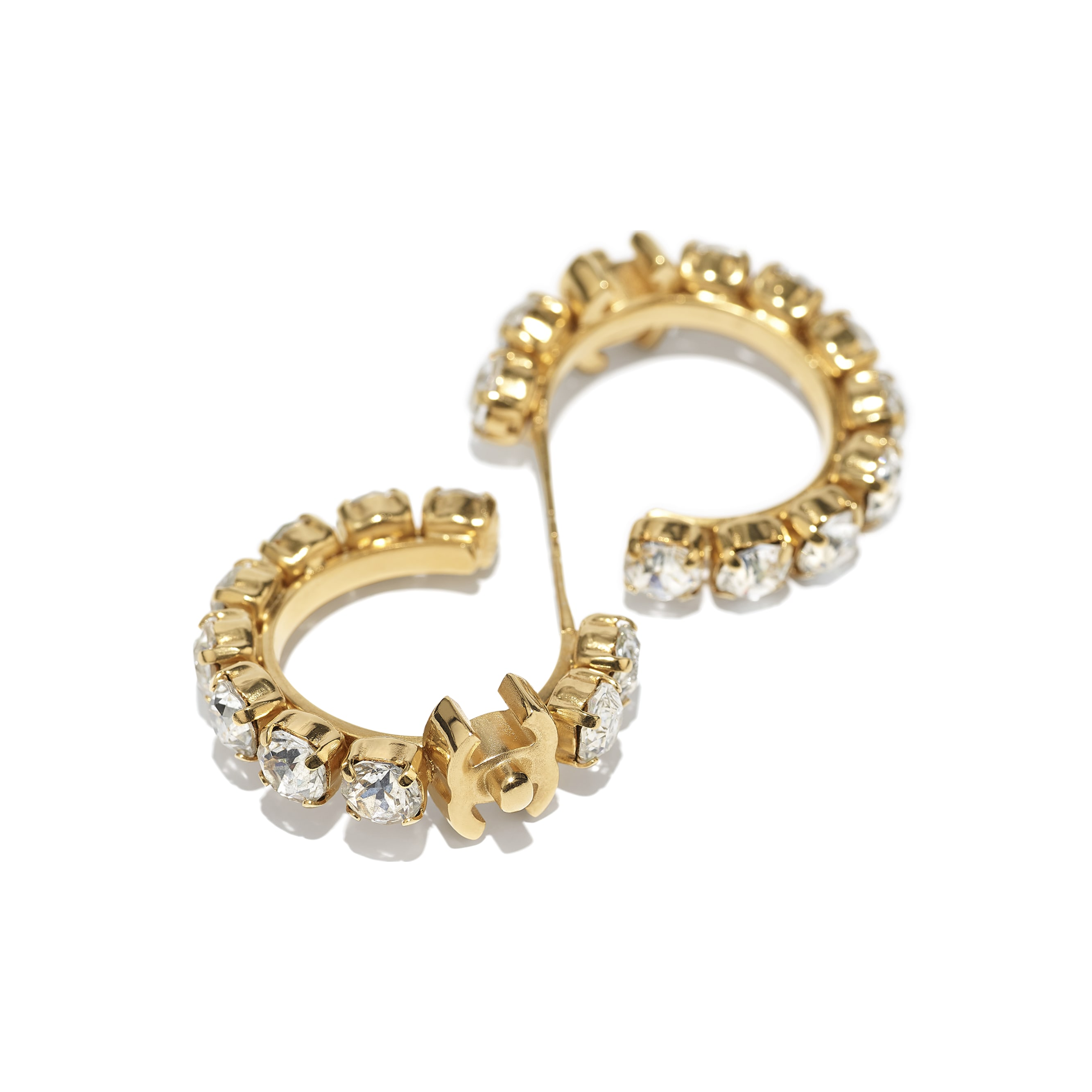 Earrings - Gold & Crystal - Metal & Strass - CHANEL - Alternative view - see standard sized version