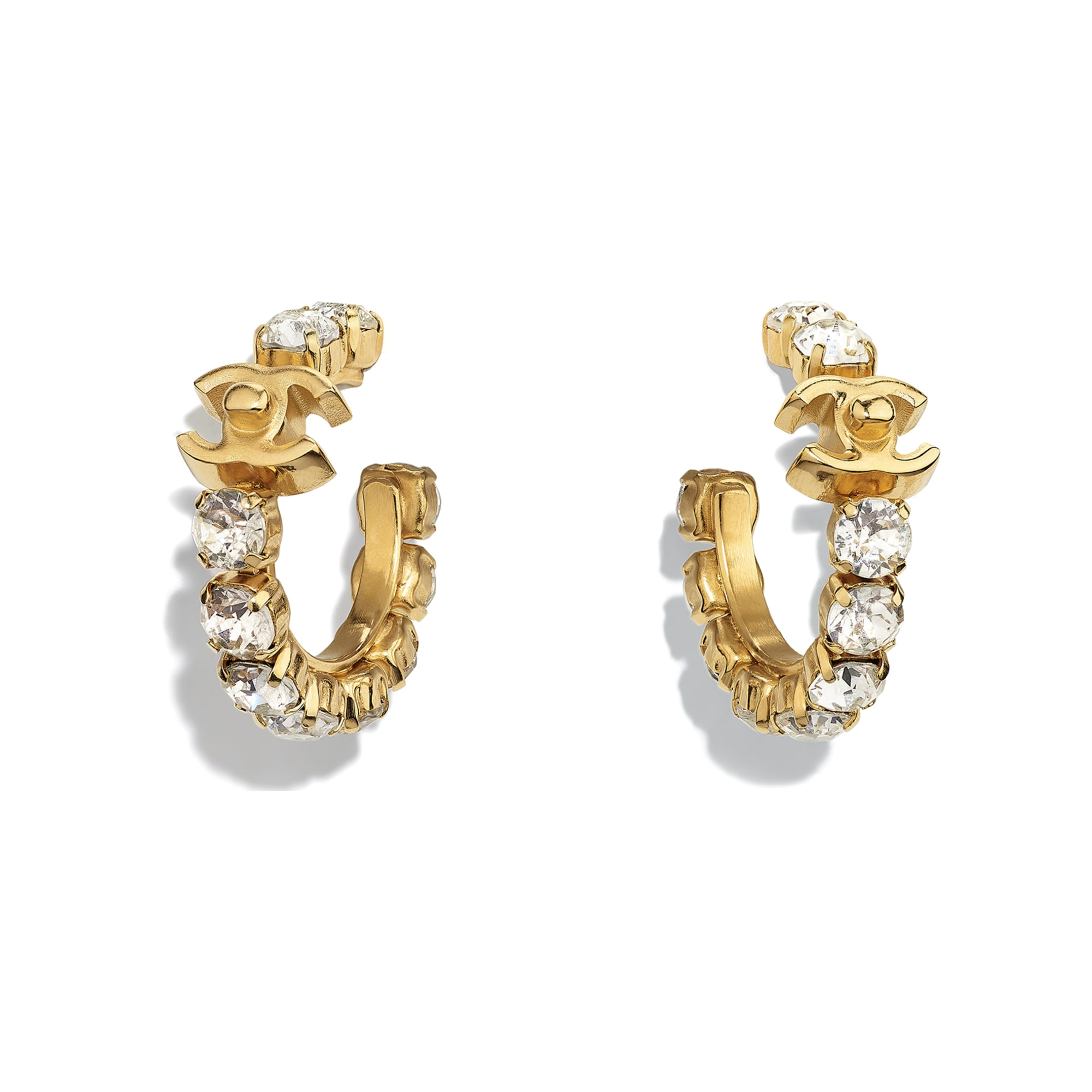 Earrings - Gold & Crystal - Metal & Strass - CHANEL - Default view - see standard sized version