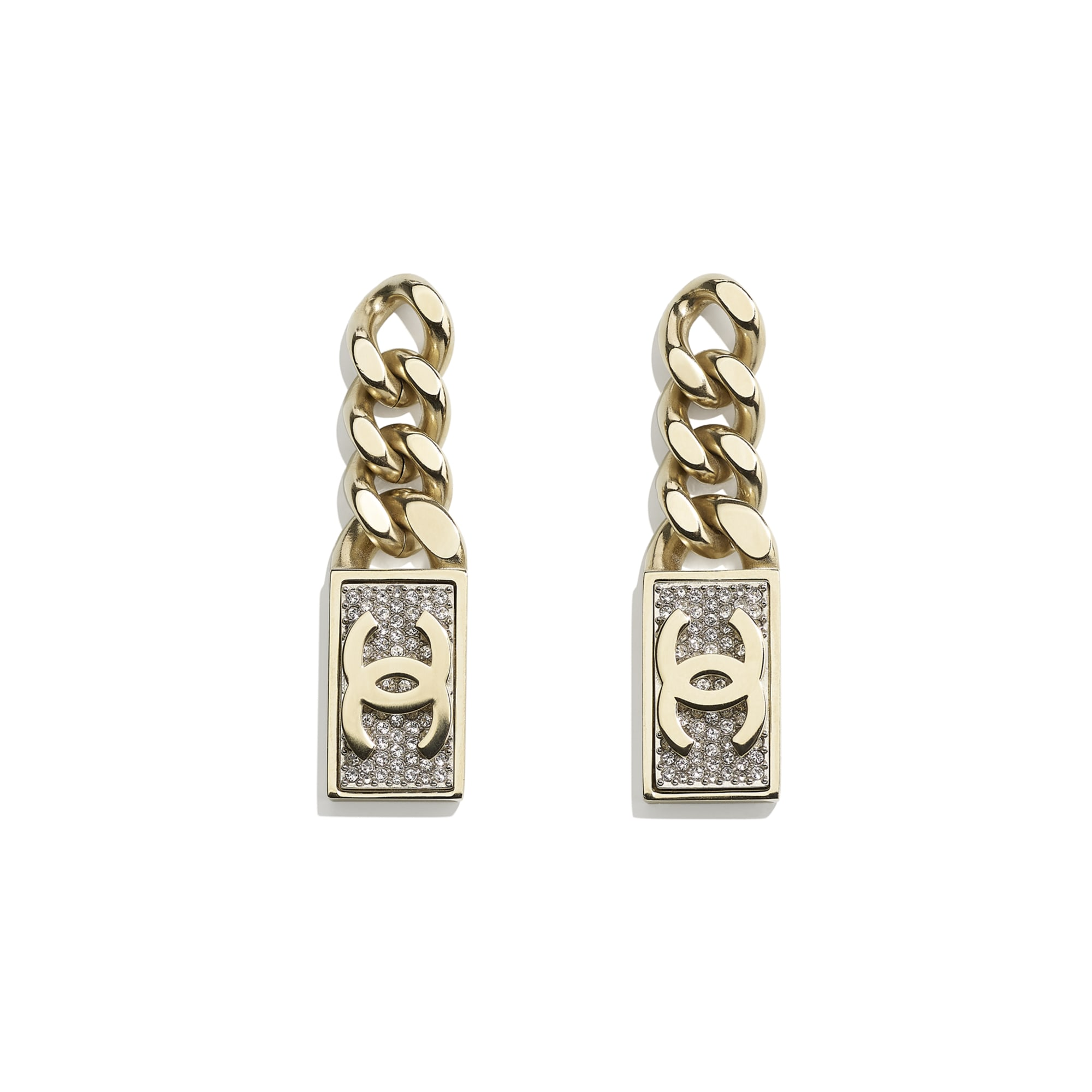 Earrings - Gold & Crystal - Metal & Diamantés - CHANEL - Default view - see standard sized version