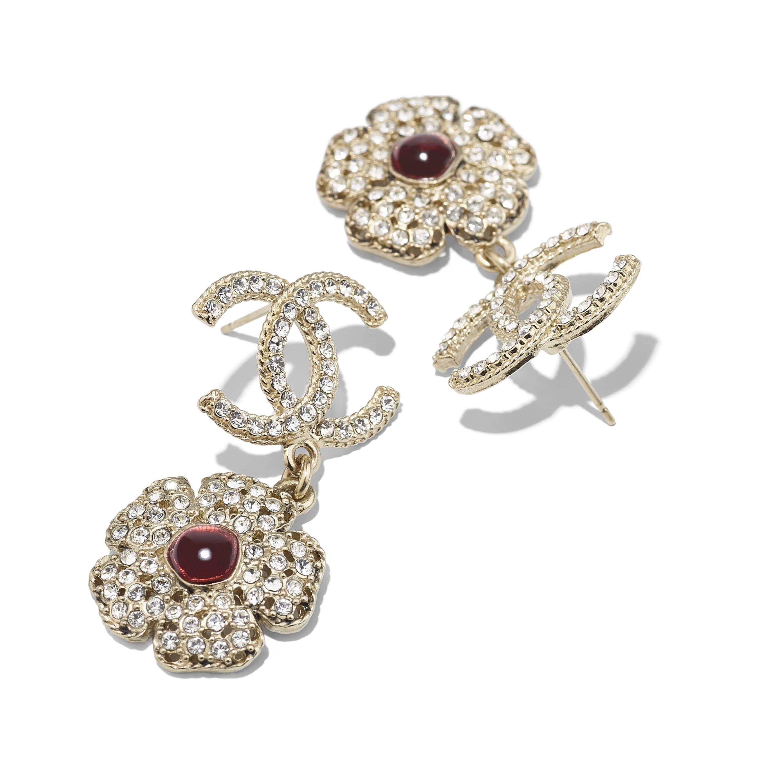 Earrings - Gold, Crystal & Red - Metal, Diamantés & Resin - Alternative view - see standard sized version