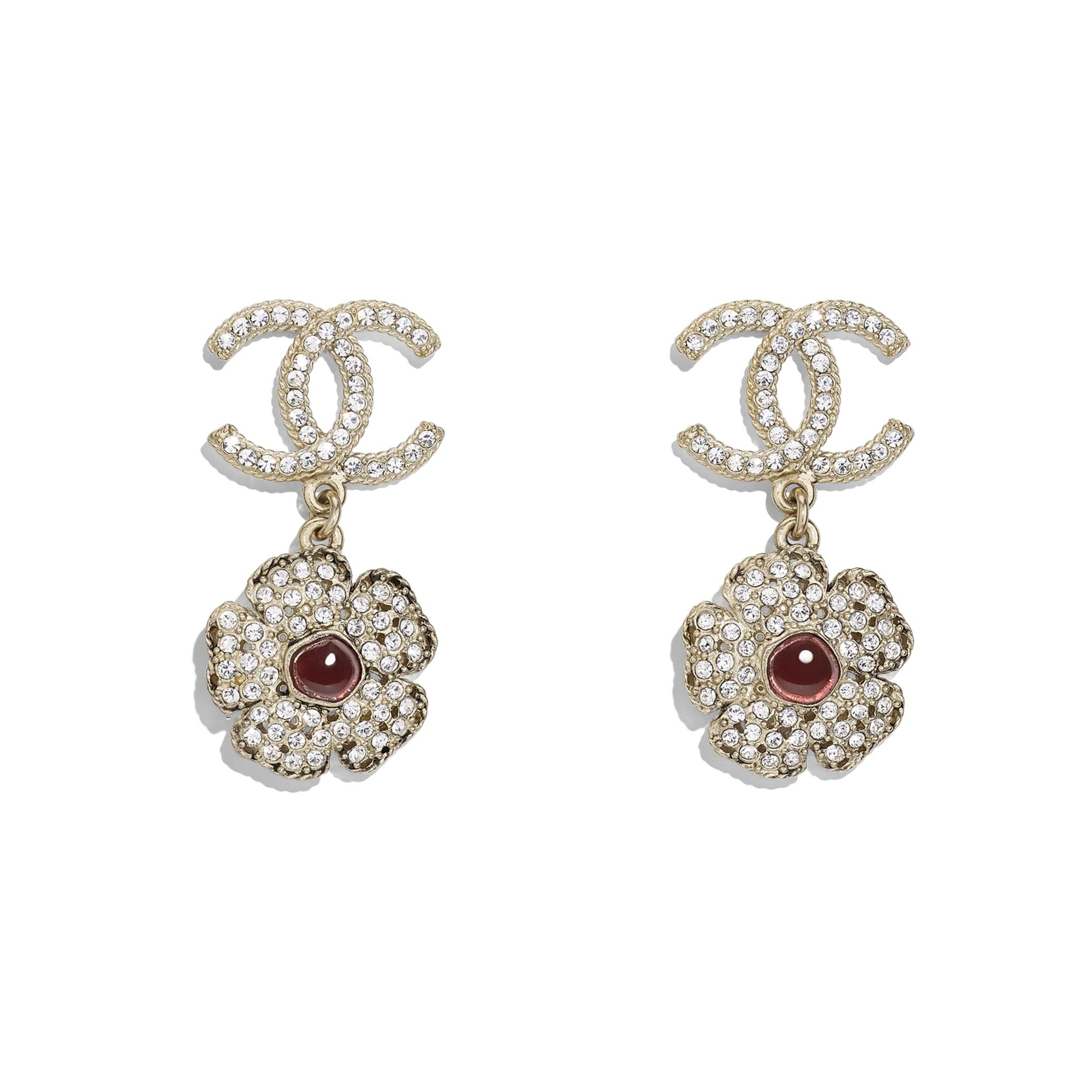 Earrings - Gold, Crystal & Red - Metal, Diamantés & Resin - Default view - see standard sized version