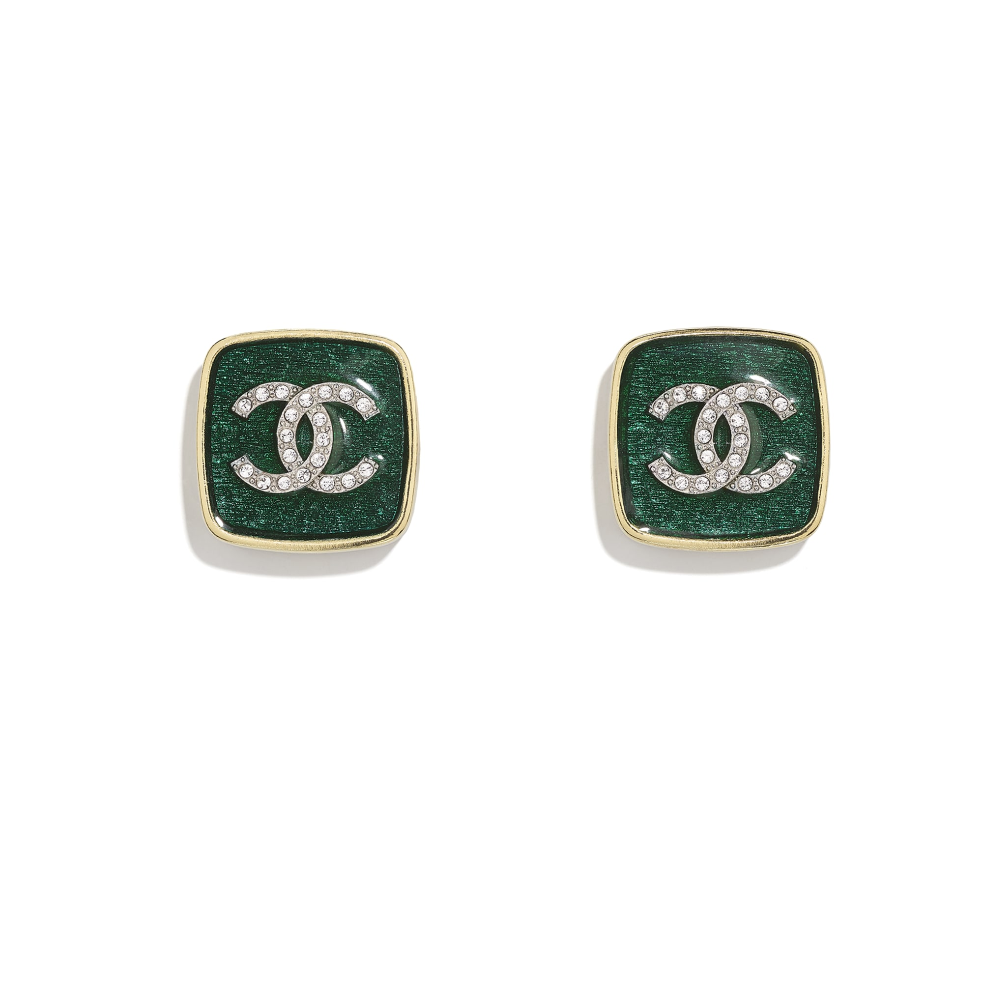Earrings - Gold, Green & Crystal - Metal & Diamantés - CHANEL - Default view - see standard sized version
