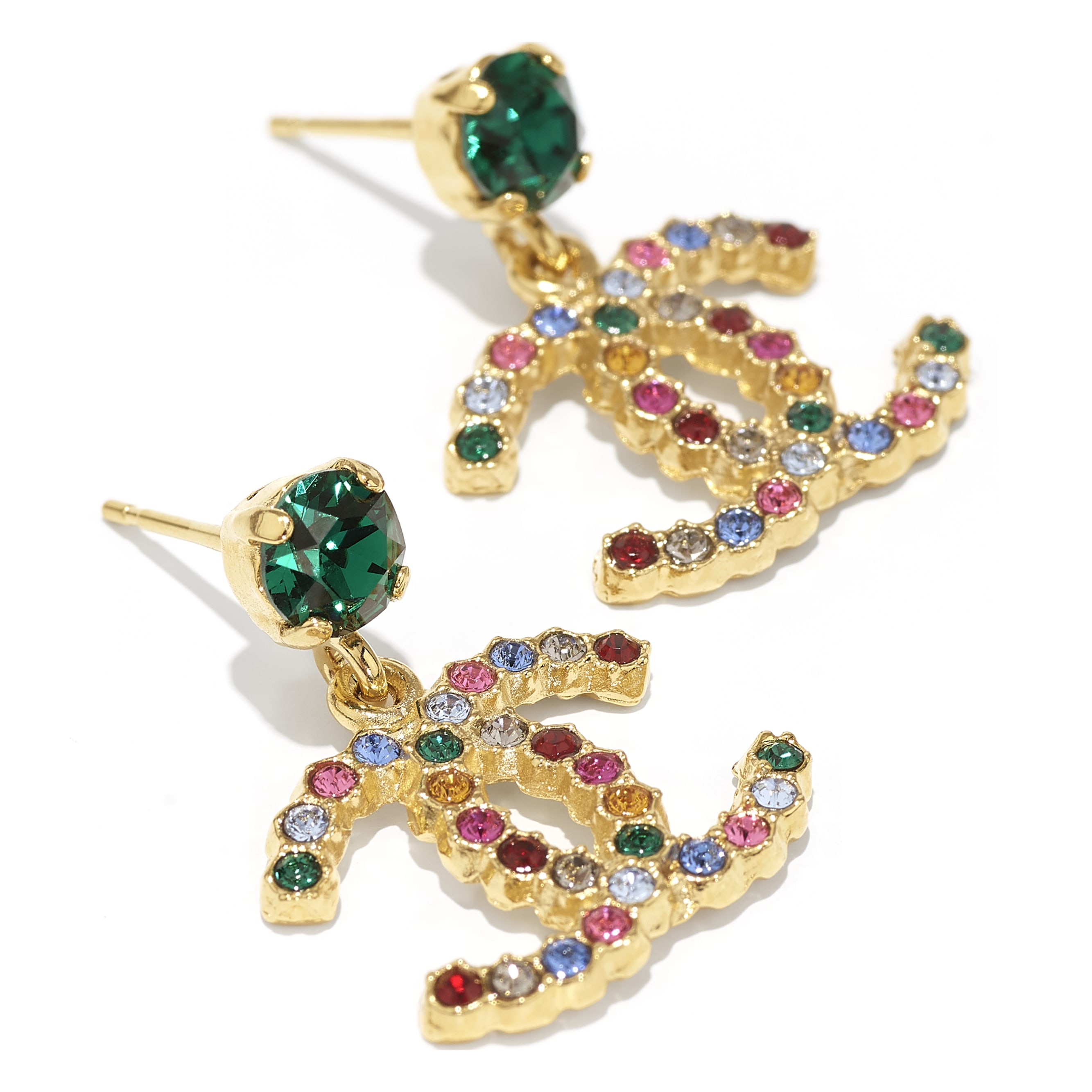 Earrings - Gold & Multicolour - Metal & Diamantés - CHANEL - Alternative view - see standard sized version