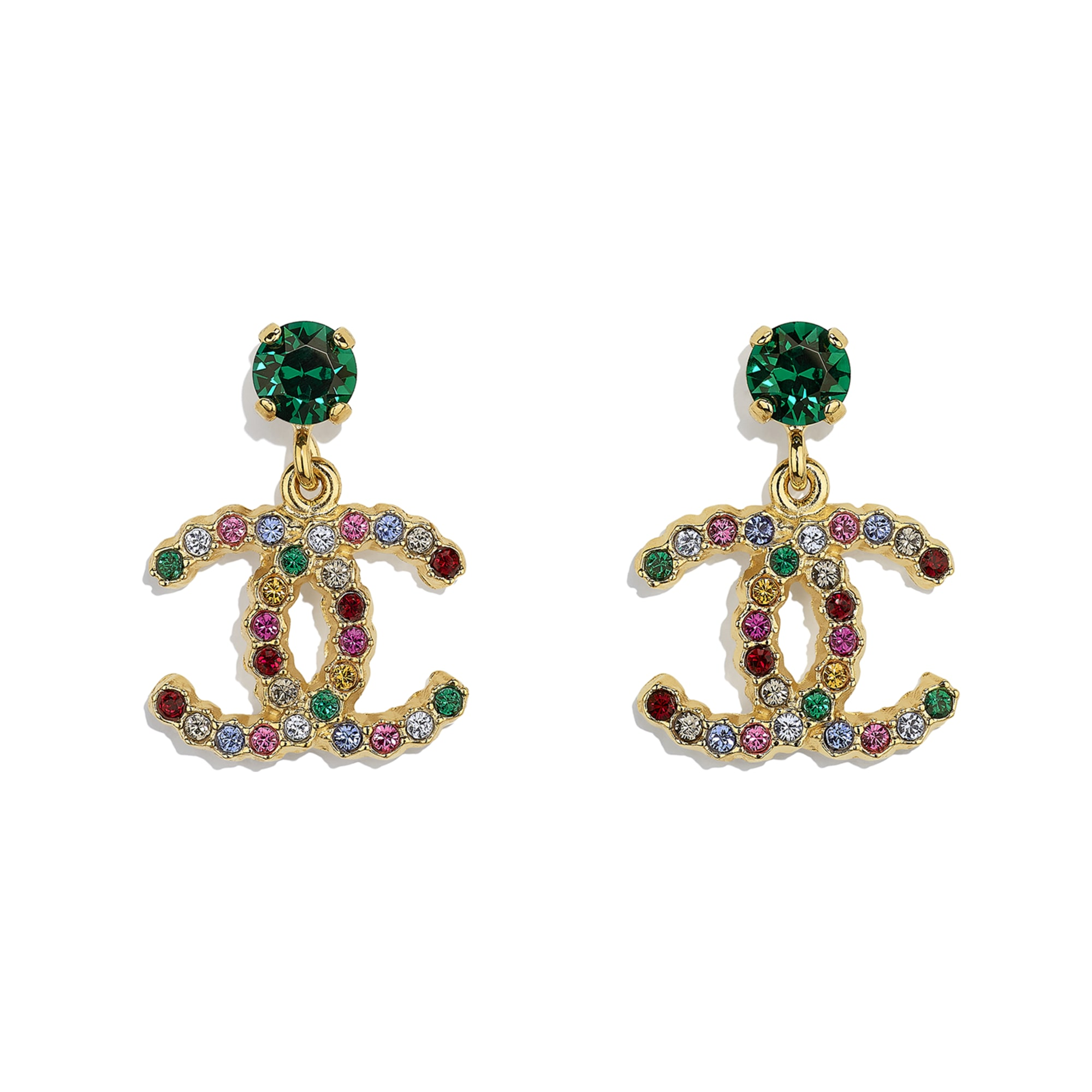 Earrings - Gold & Multicolour - Metal & Diamantés - CHANEL - Default view - see standard sized version